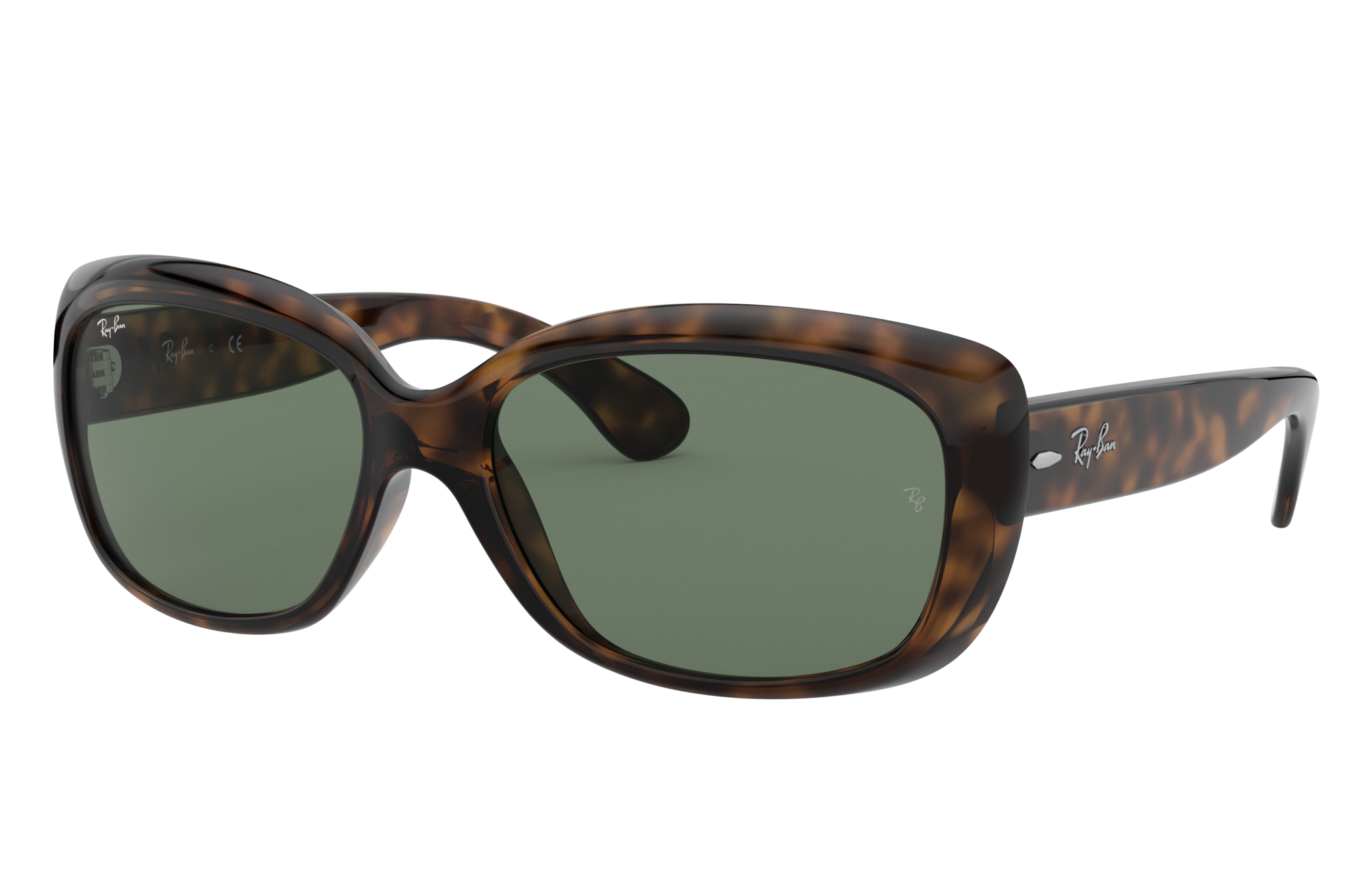 Ray-Ban Jackie Ohh Low Bridge Fit Tortoise, Green Lenses - RB4101F