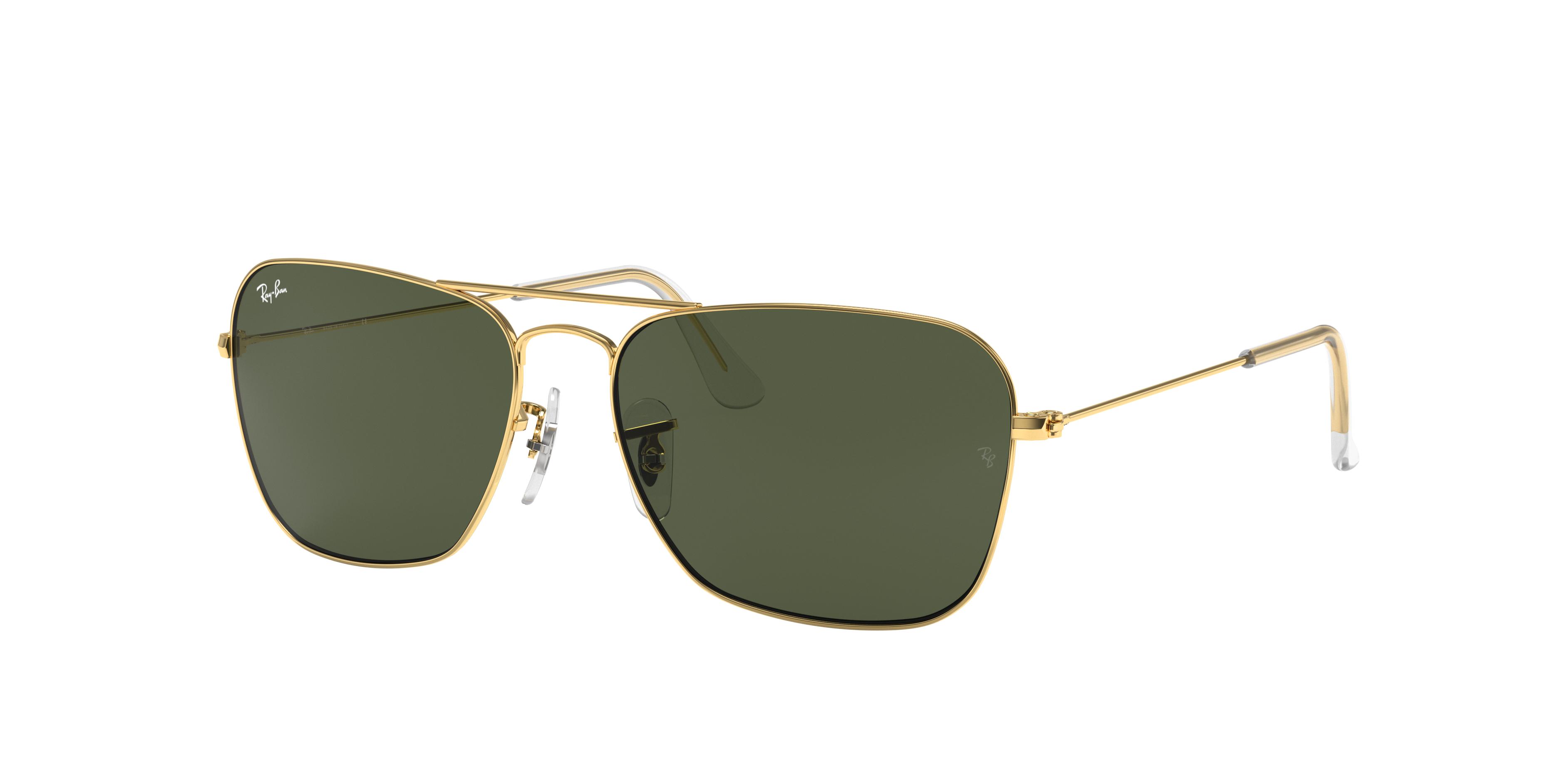 Ray-Ban Caravan Gold, Green Lenses - RB3136