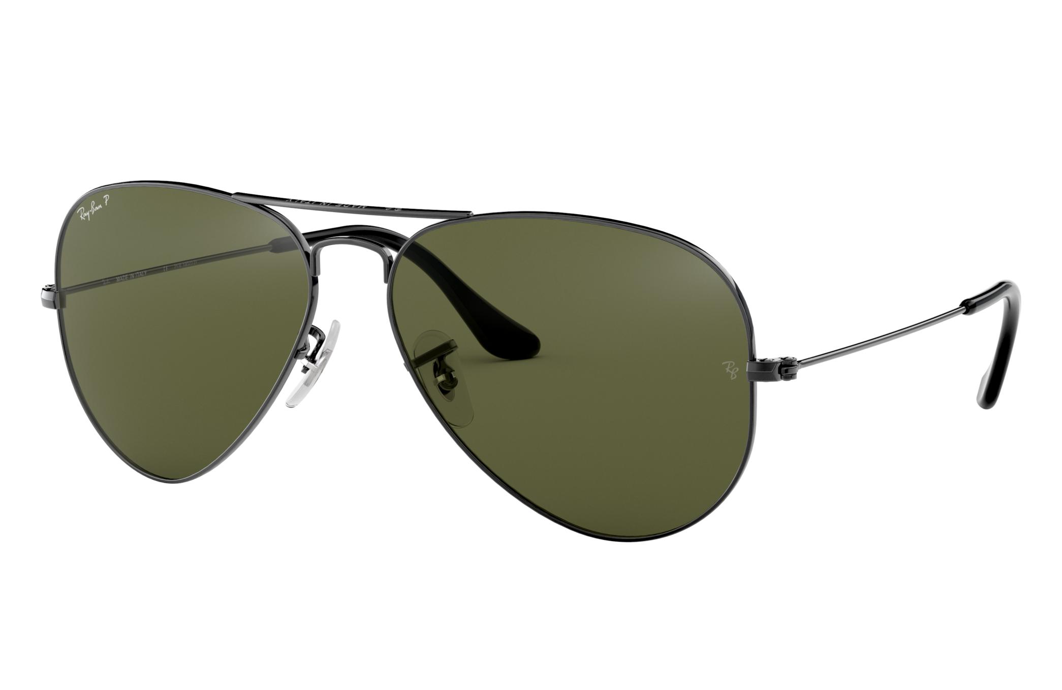 Ray-Ban Aviator Classic Gunmetal, Polarized Green Lenses - RB3025