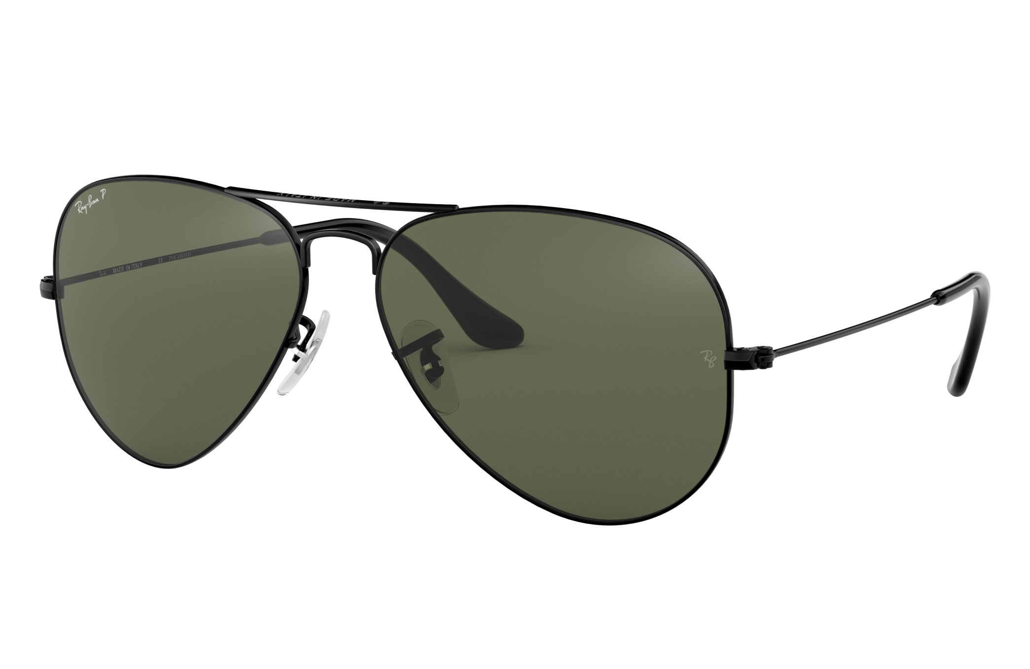 Ray-Ban Aviator Classic Black, Polarized Green Lenses - RB3025