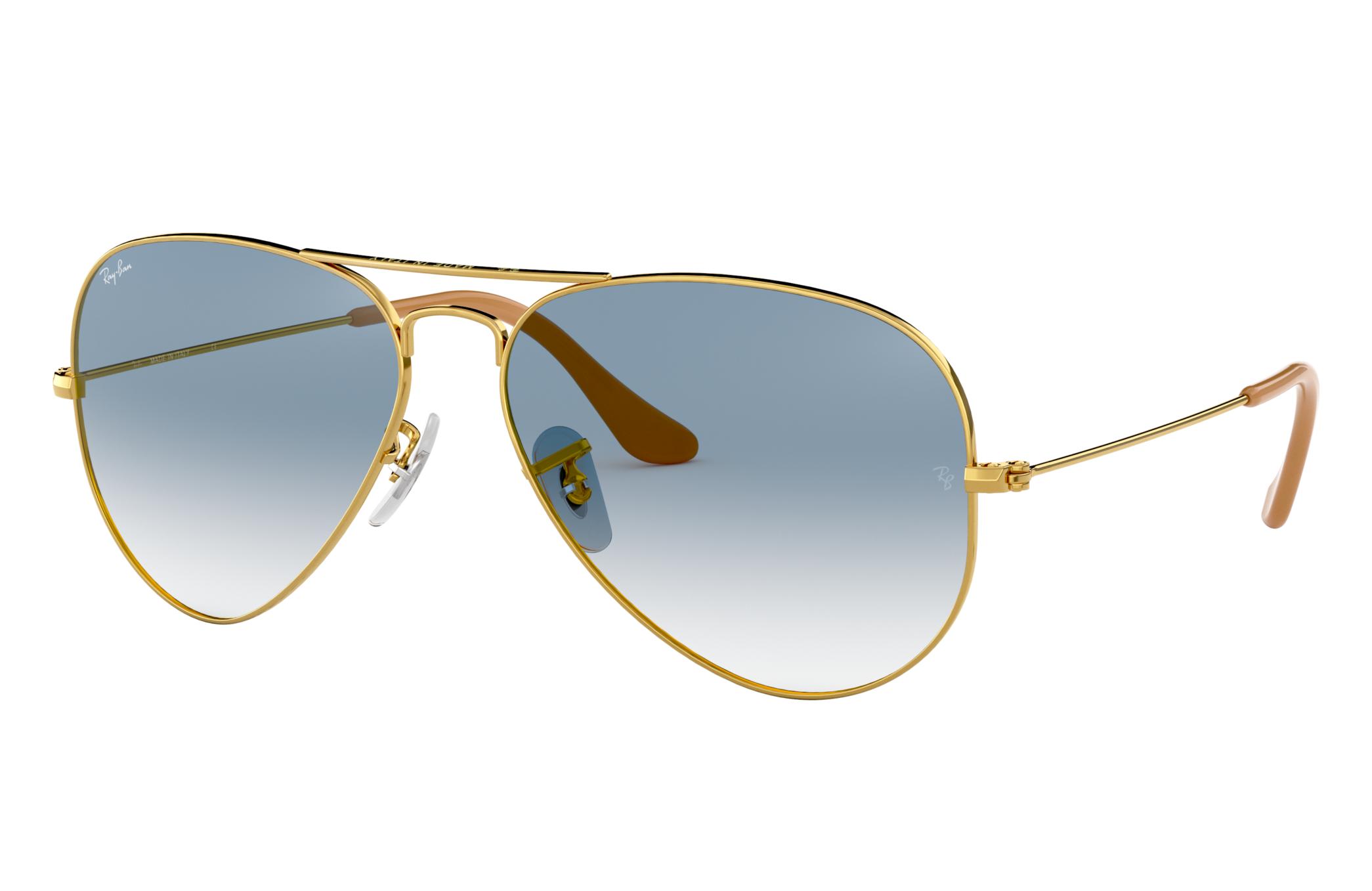 Ray-Ban Aviator Gradient Gold, Blue Lenses - RB3025