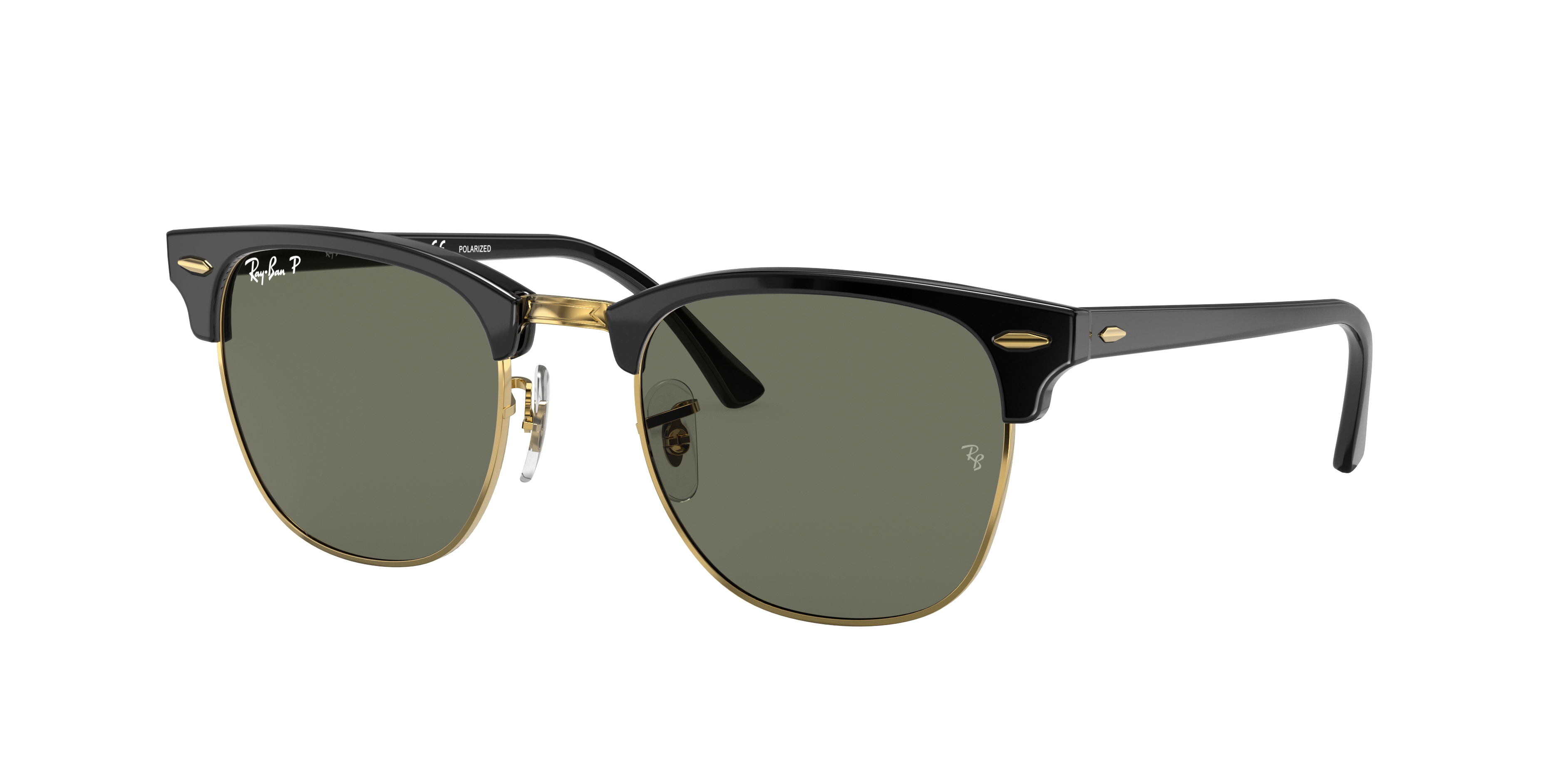 Ray-Ban Clubmaster Classic Black, Polarized Green Lenses - RB3016