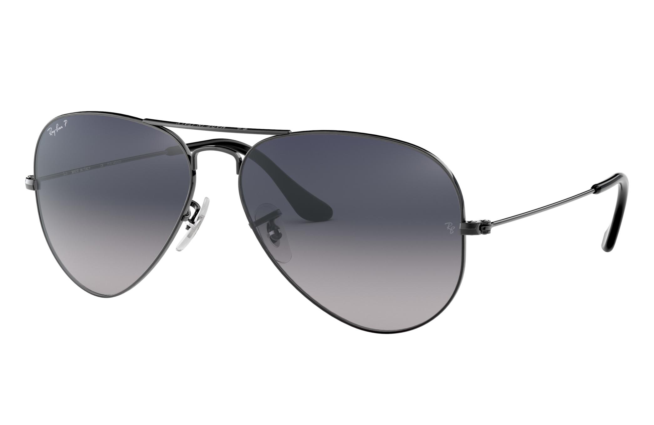 Ray-Ban Aviator Gradient Gunmetal, Polarized Blue Lenses - RB3025