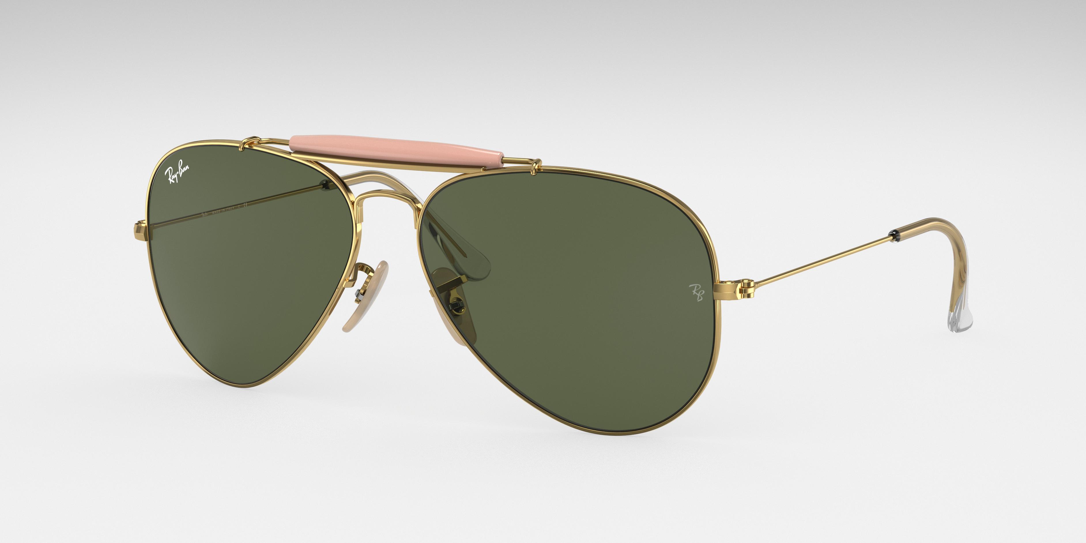 Ray-Ban Outdoorsman II Gold, Green Lenses - RB3029