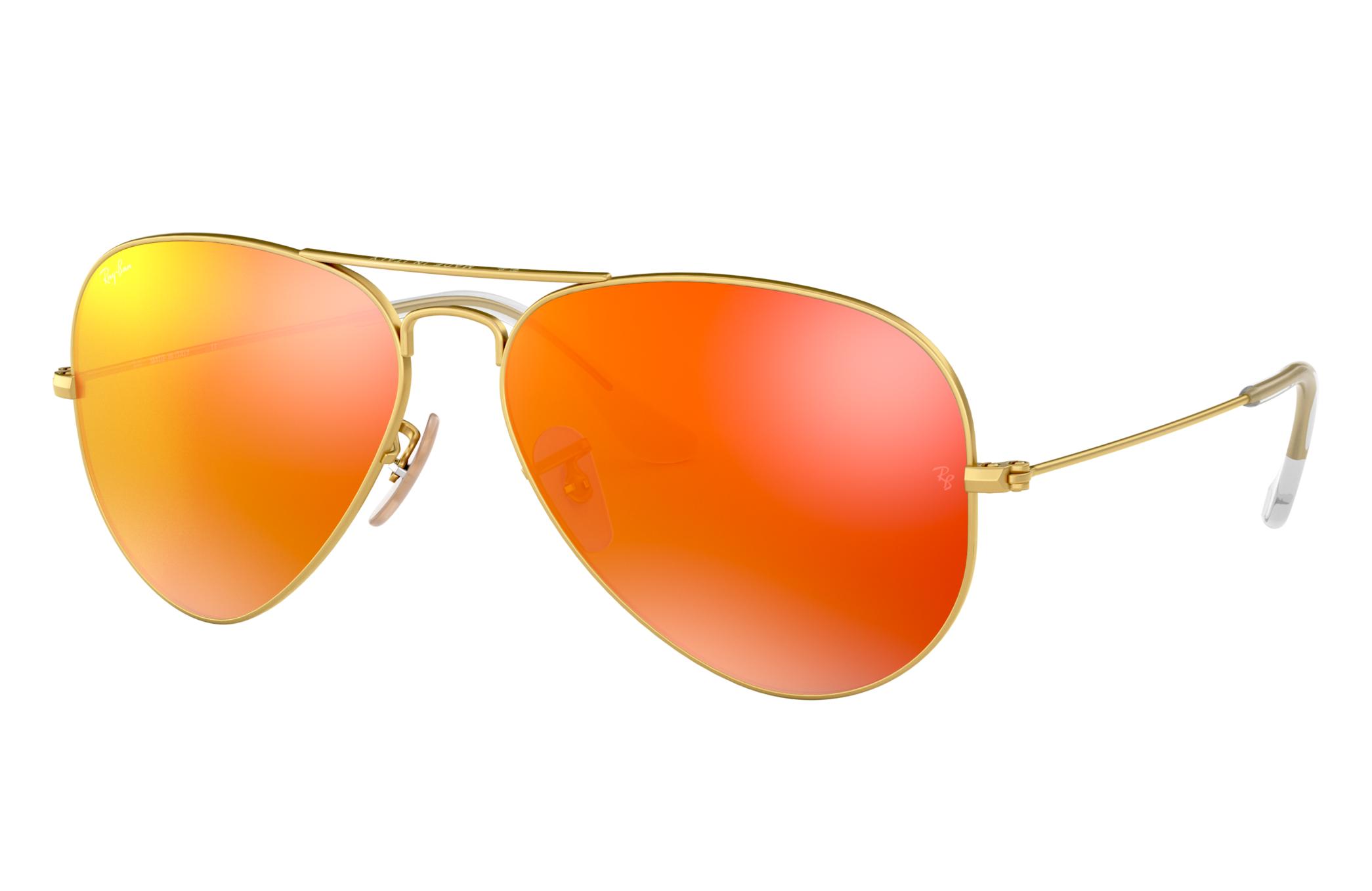 Ray-Ban Aviator Flash Lenses Gold, Orange Lenses - RB3025