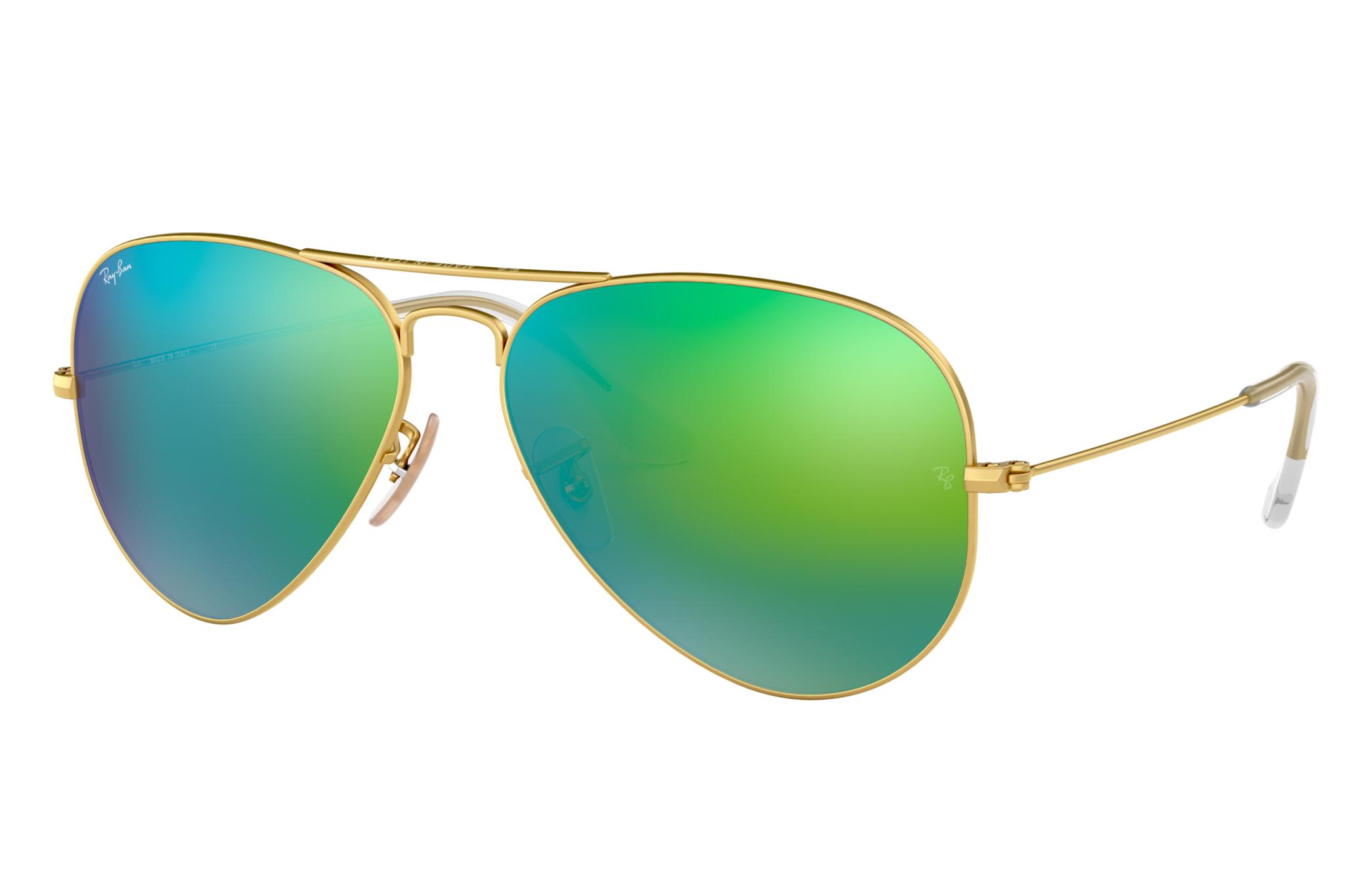 Ray-Ban Aviator Flash Lenses Gold, Green Lenses - RB3025