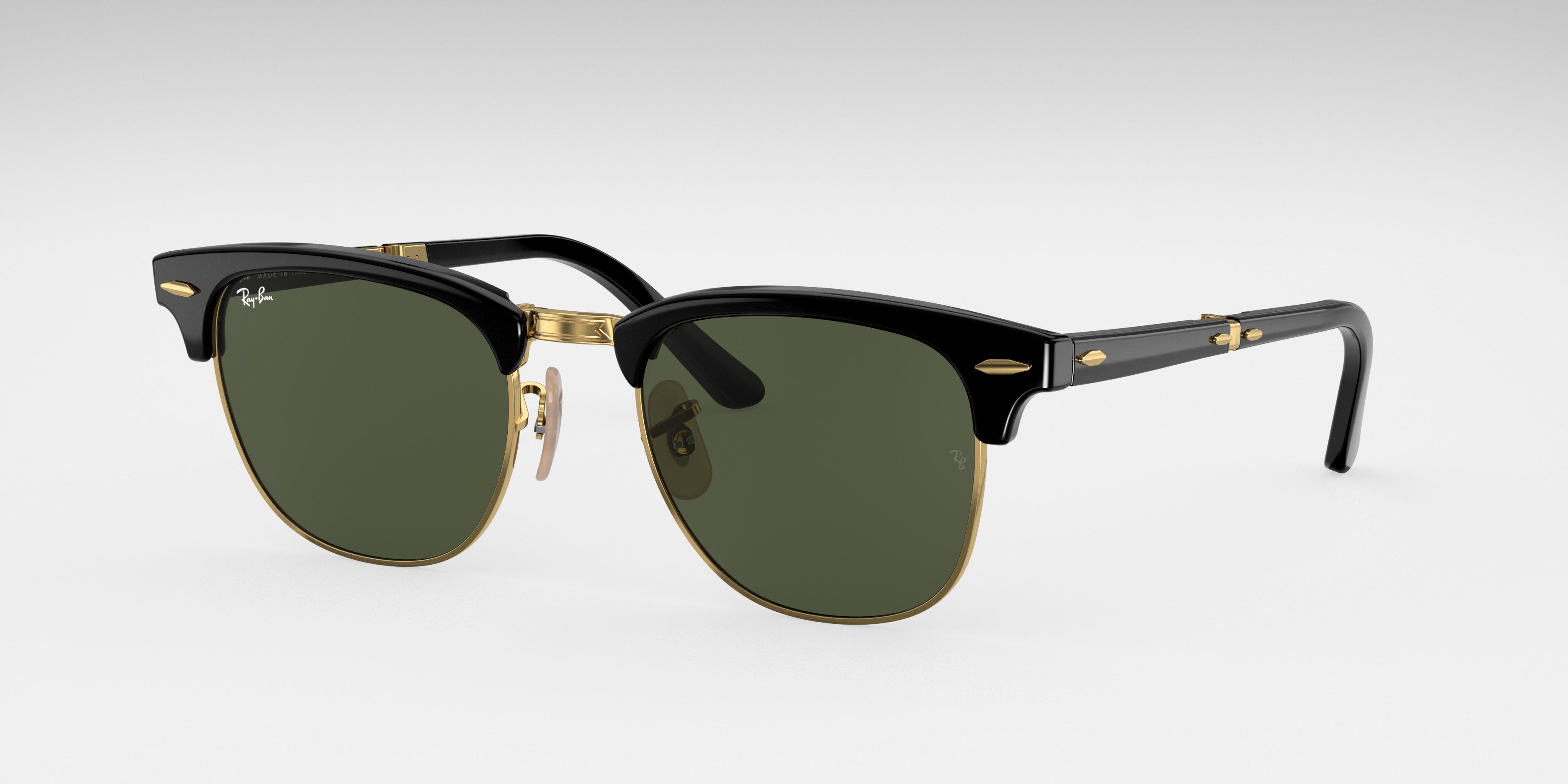 Ray-Ban Clubmaster Folding Black, Green Lenses - RB2176