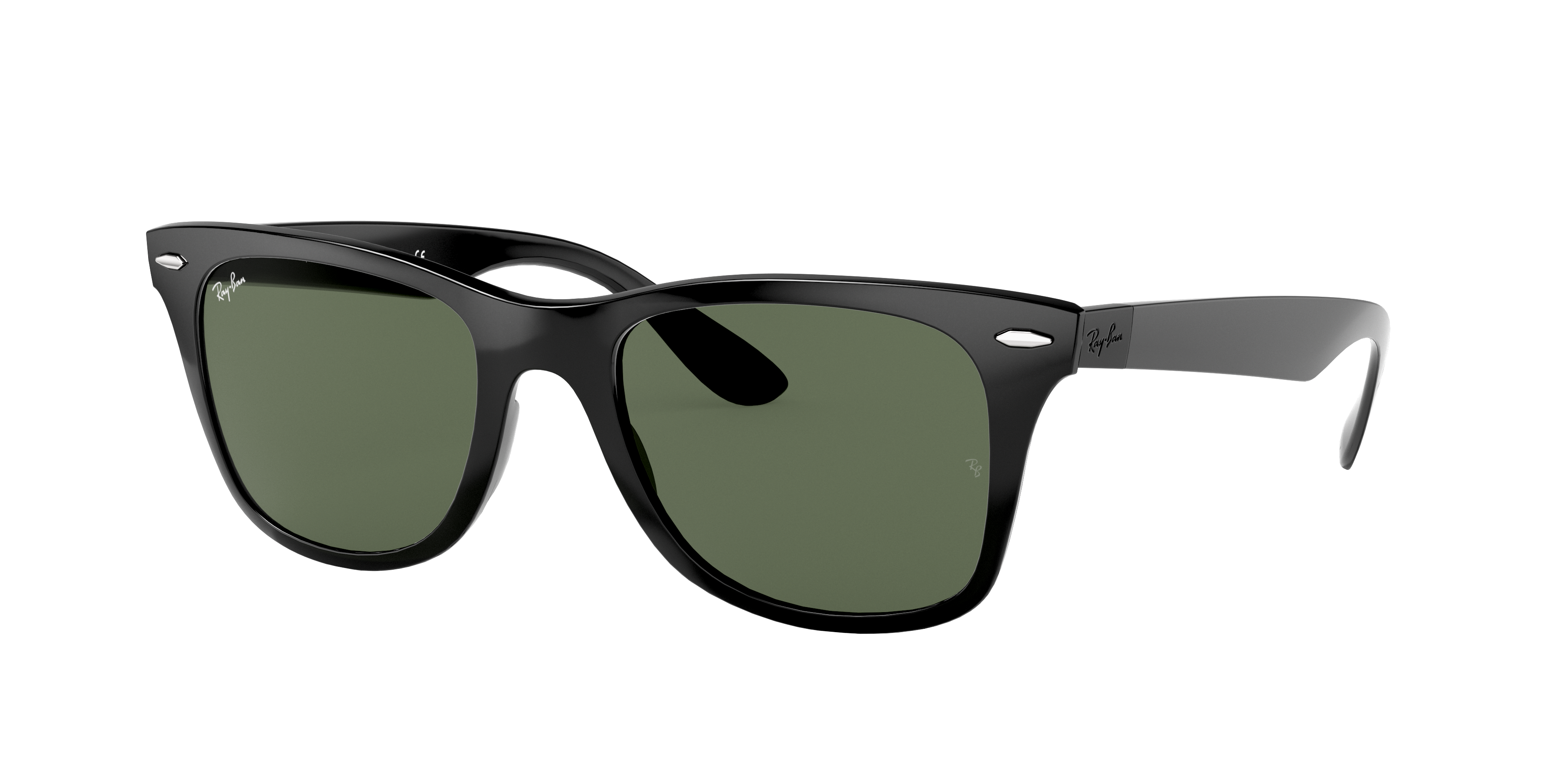 Ray-Ban Wayfarer Liteforce Low Bridge Fit Black, Green Lenses - RB4195F