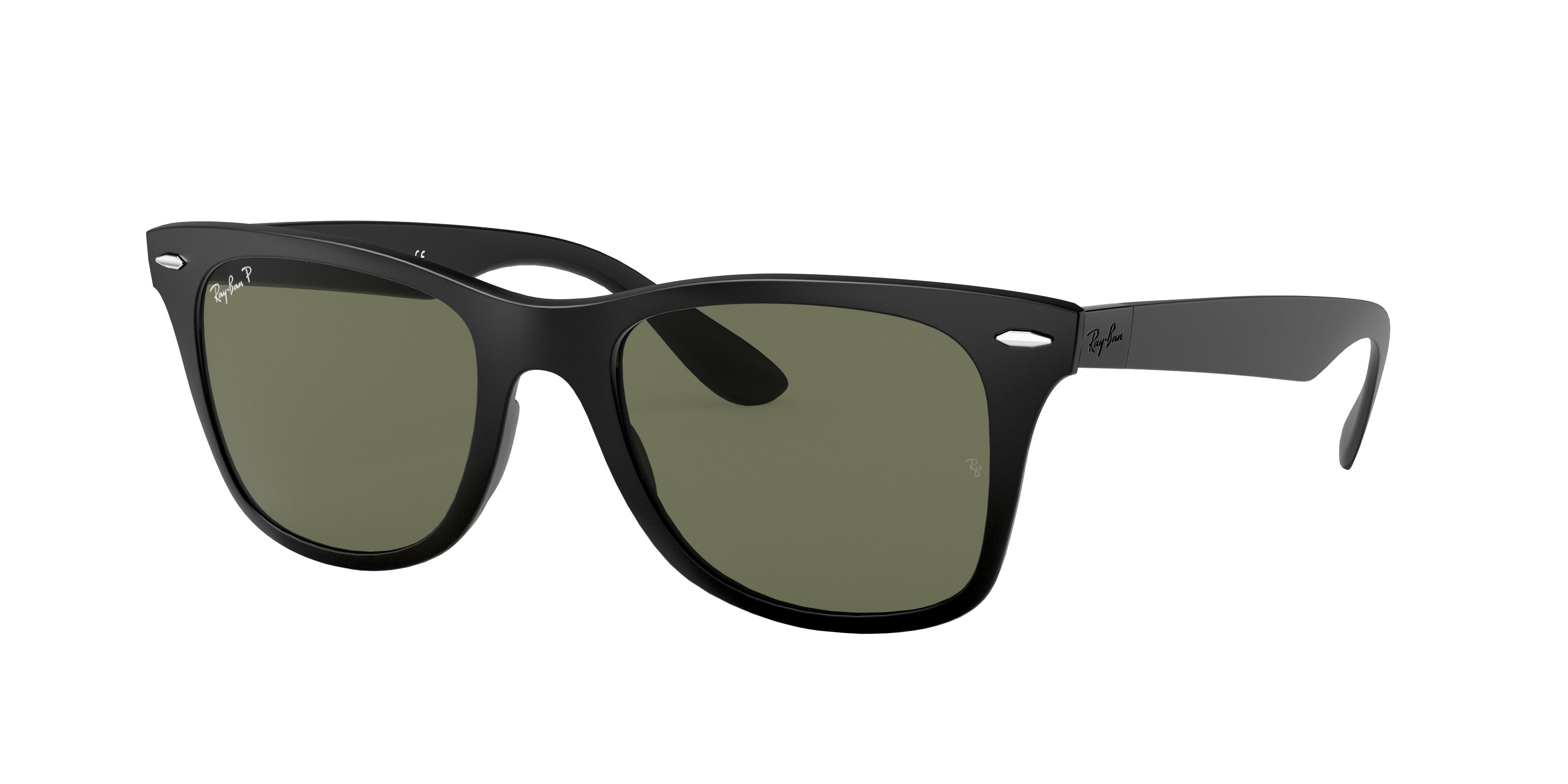 Ray-Ban Wayfarer Liteforce Low Bridge Fit Black, Polarized Green Lenses - RB4195F