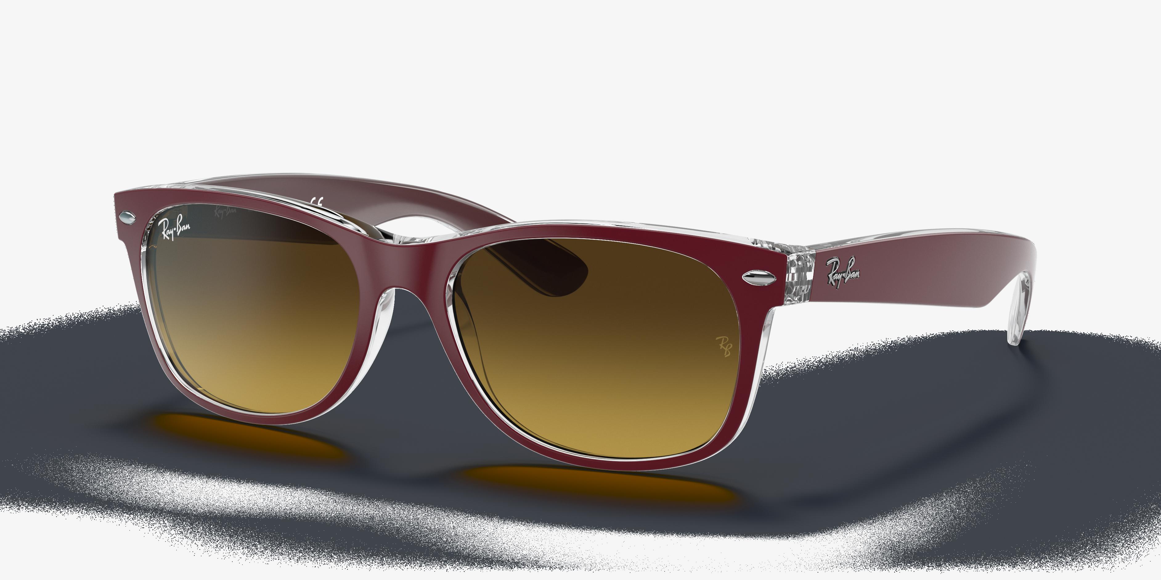 Ray-Ban New Wayfarer Color Mix Bordeaux, Brown Lenses - RB2132