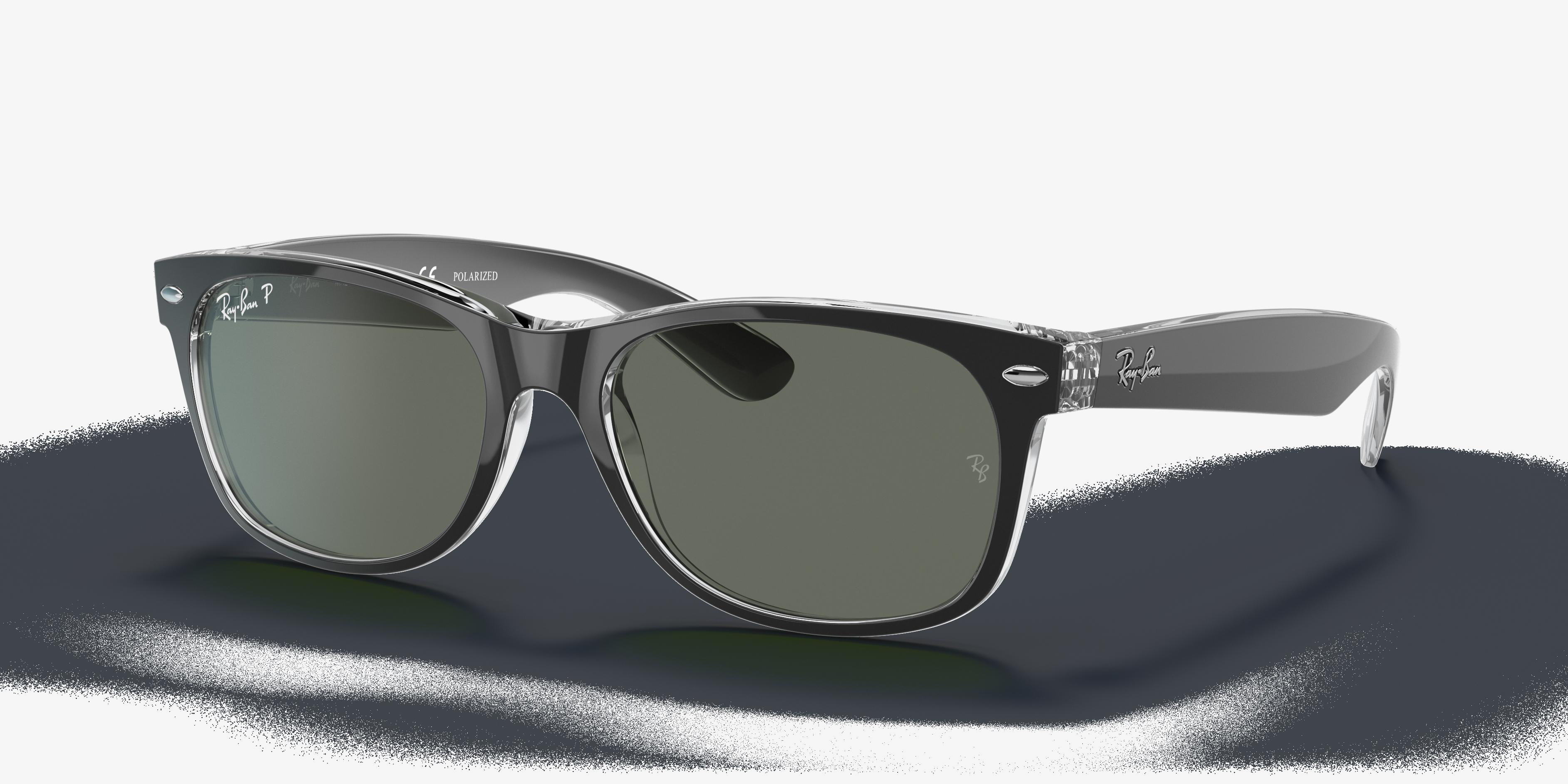 Ray-Ban New Wayfarer Classic Black, Polarized Green Lenses - RB2132
