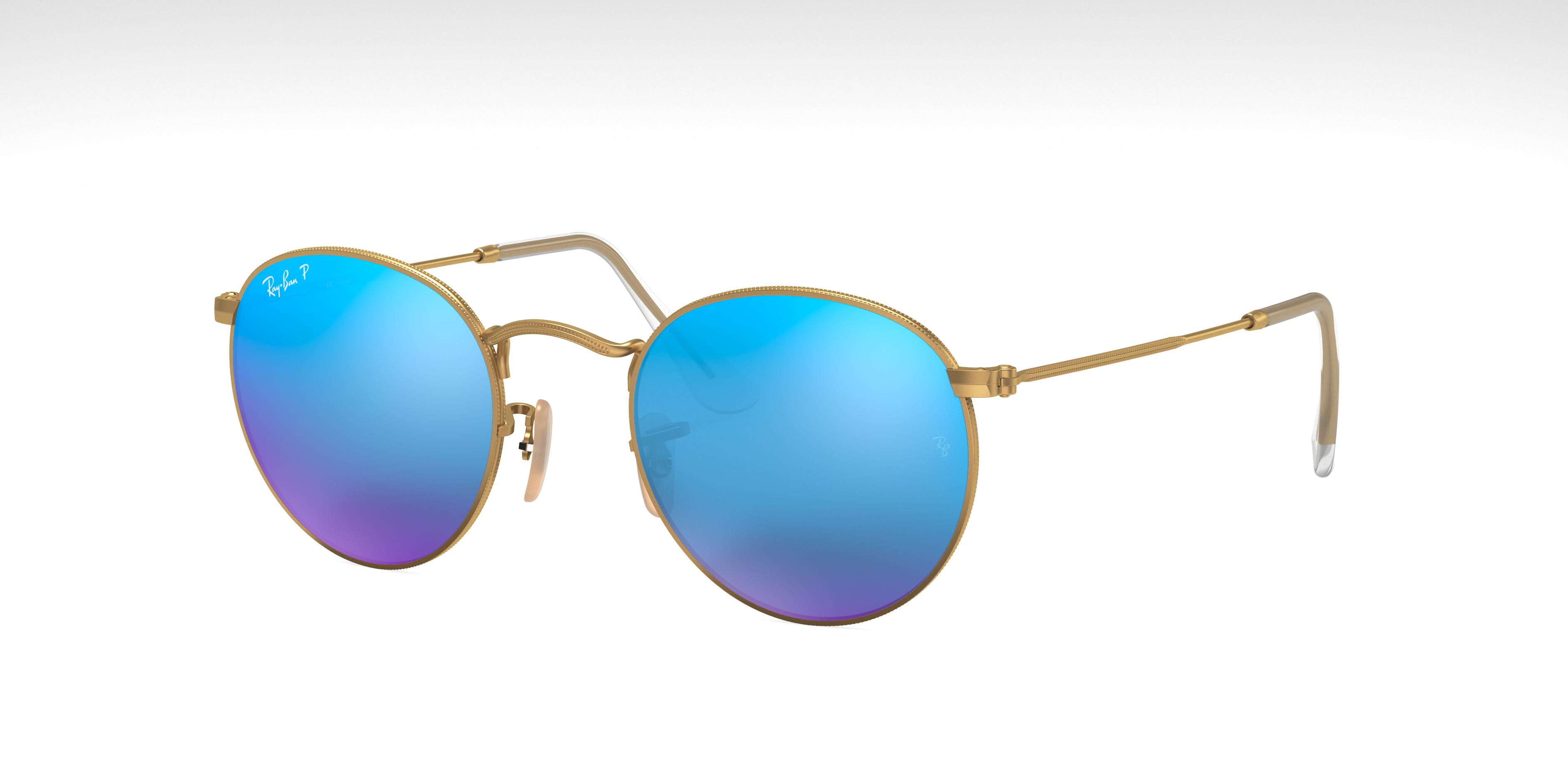 Ray-Ban Round Flash Lenses Gold, Polarized Blue Lenses - RB3447
