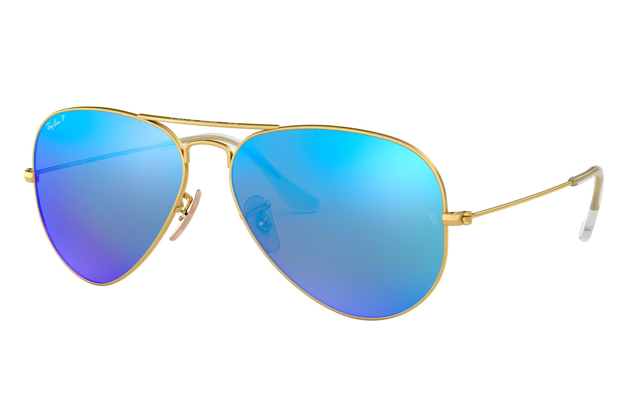 Ray-Ban Aviator Flash Lenses Gold, Polarized Blue Lenses - RB3025
