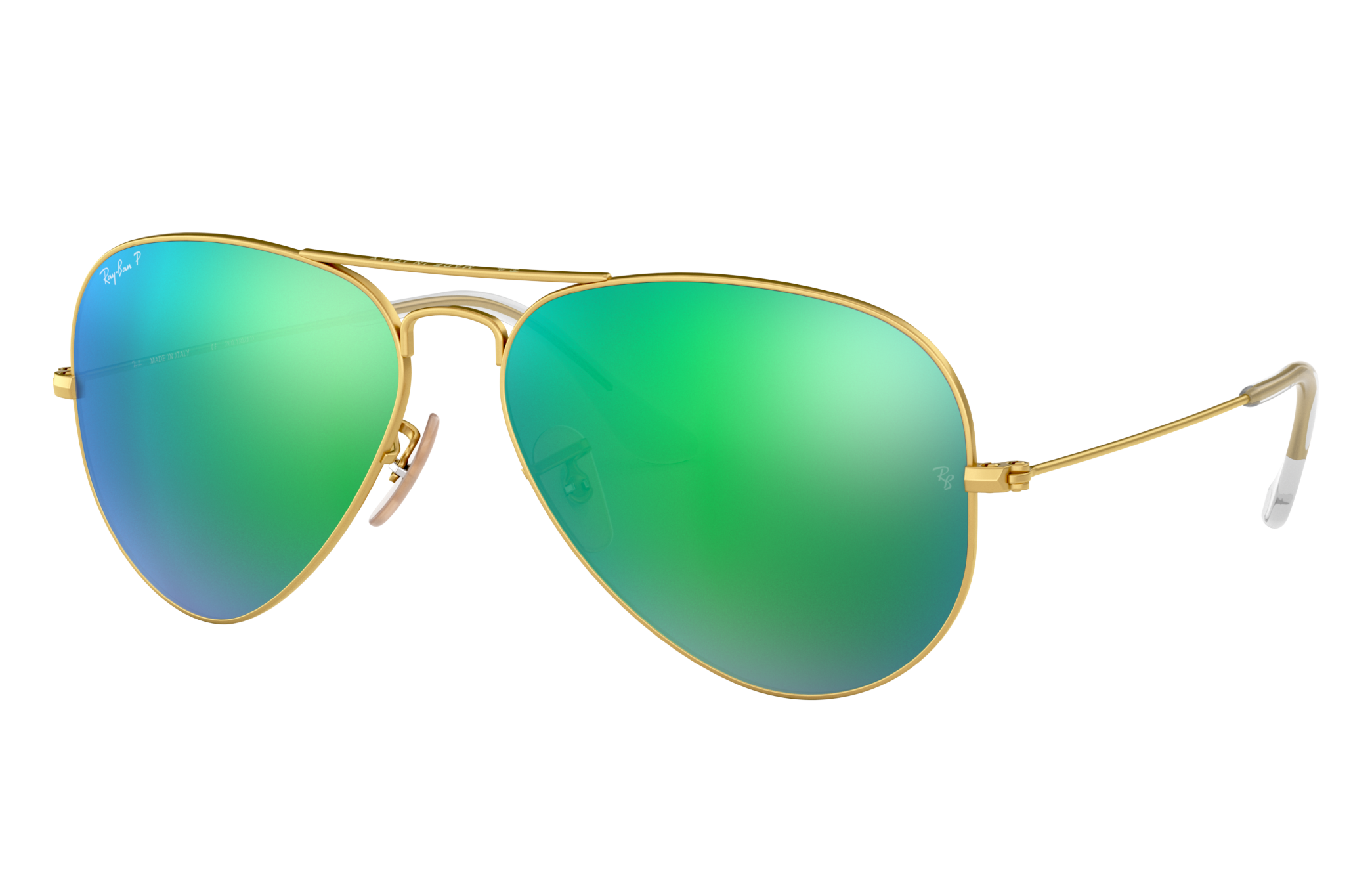 Ray-Ban Aviator Flash Lenses Gold, Polarized Green Lenses - RB3025