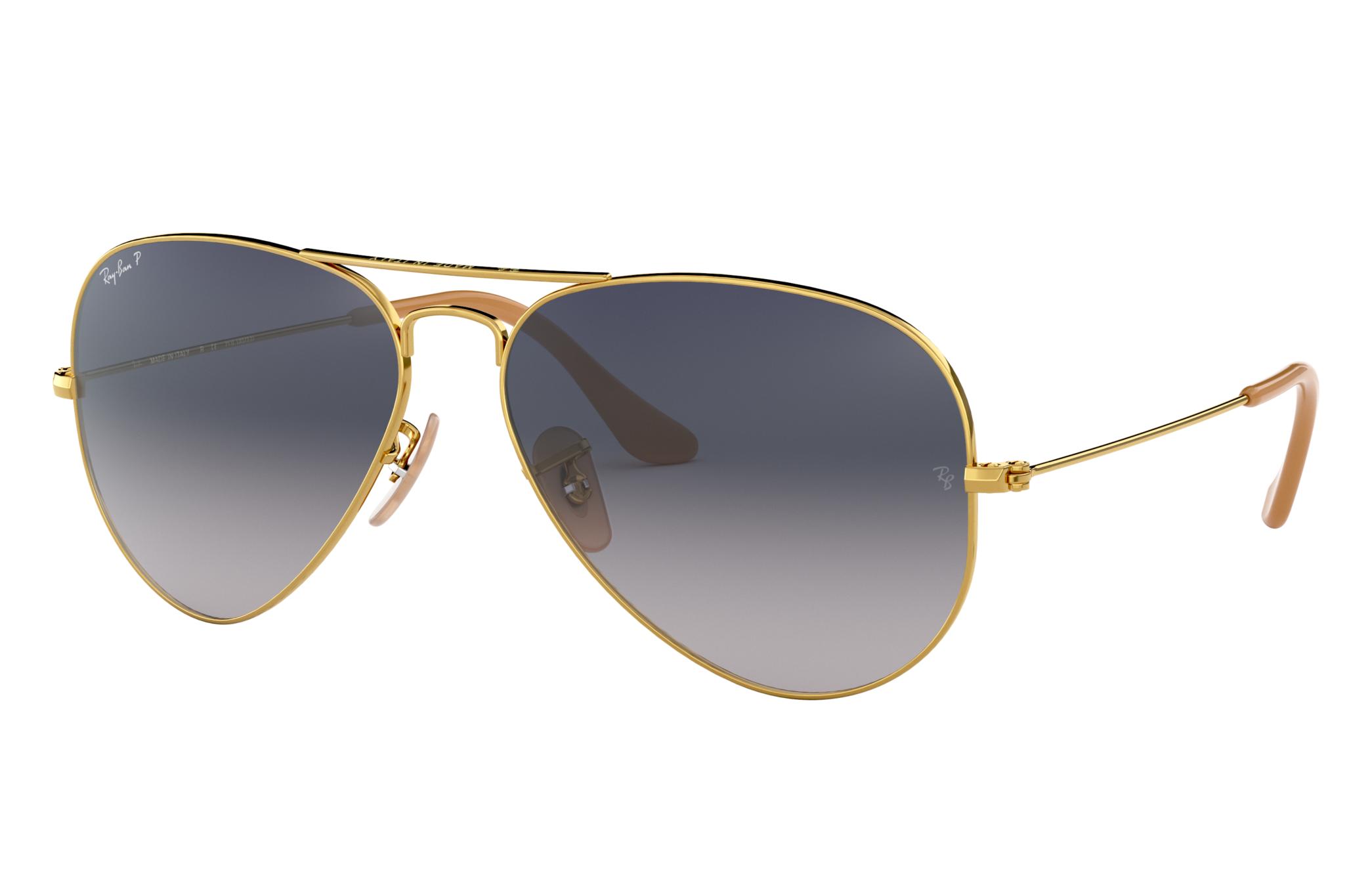 Ray-Ban Aviator Gradient Gold, Polarized Blue Lenses - RB3025