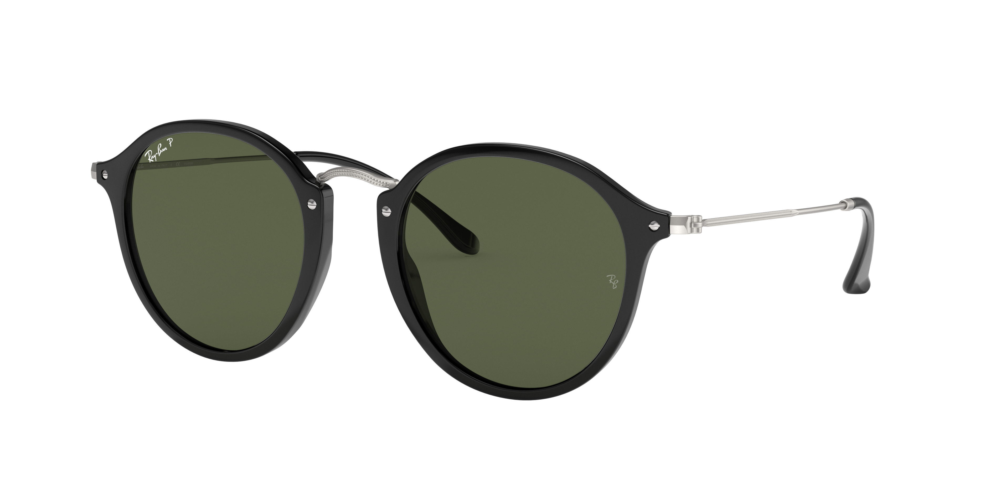 Ray-Ban Round Fleck Silver, Polarized Green Lenses - RB2447