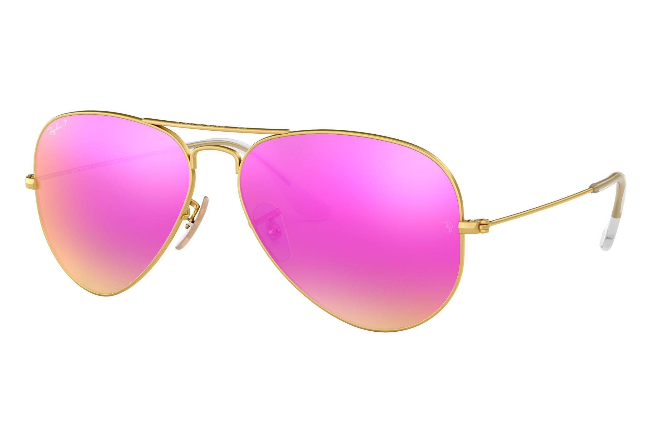 Ray-Ban Aviator Flash Lenses Gold, Polarized Violet Lenses - RB3025