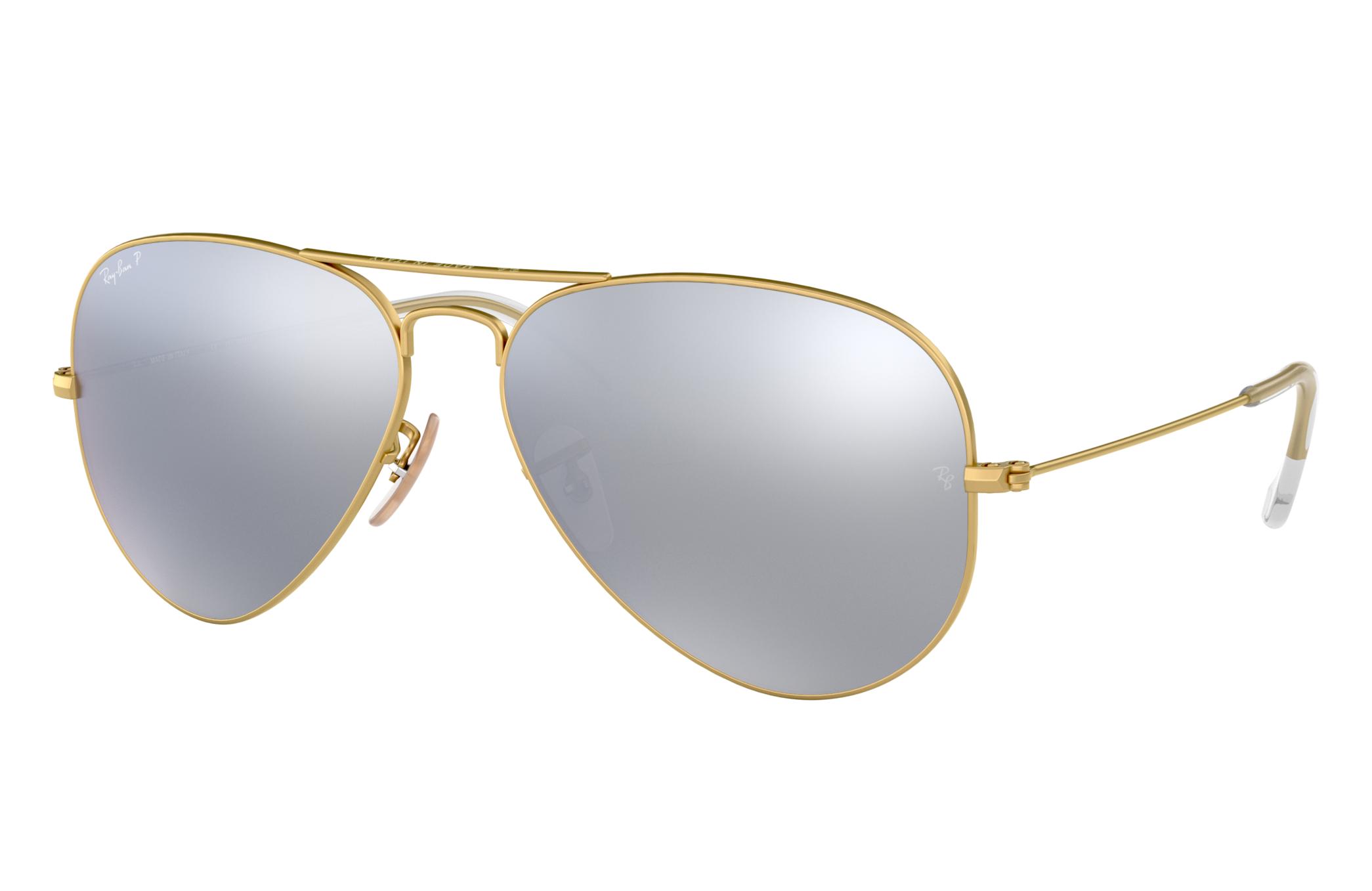 Ray-Ban Aviator Flash Lenses Gold, Polarized Gray Lenses - RB3025