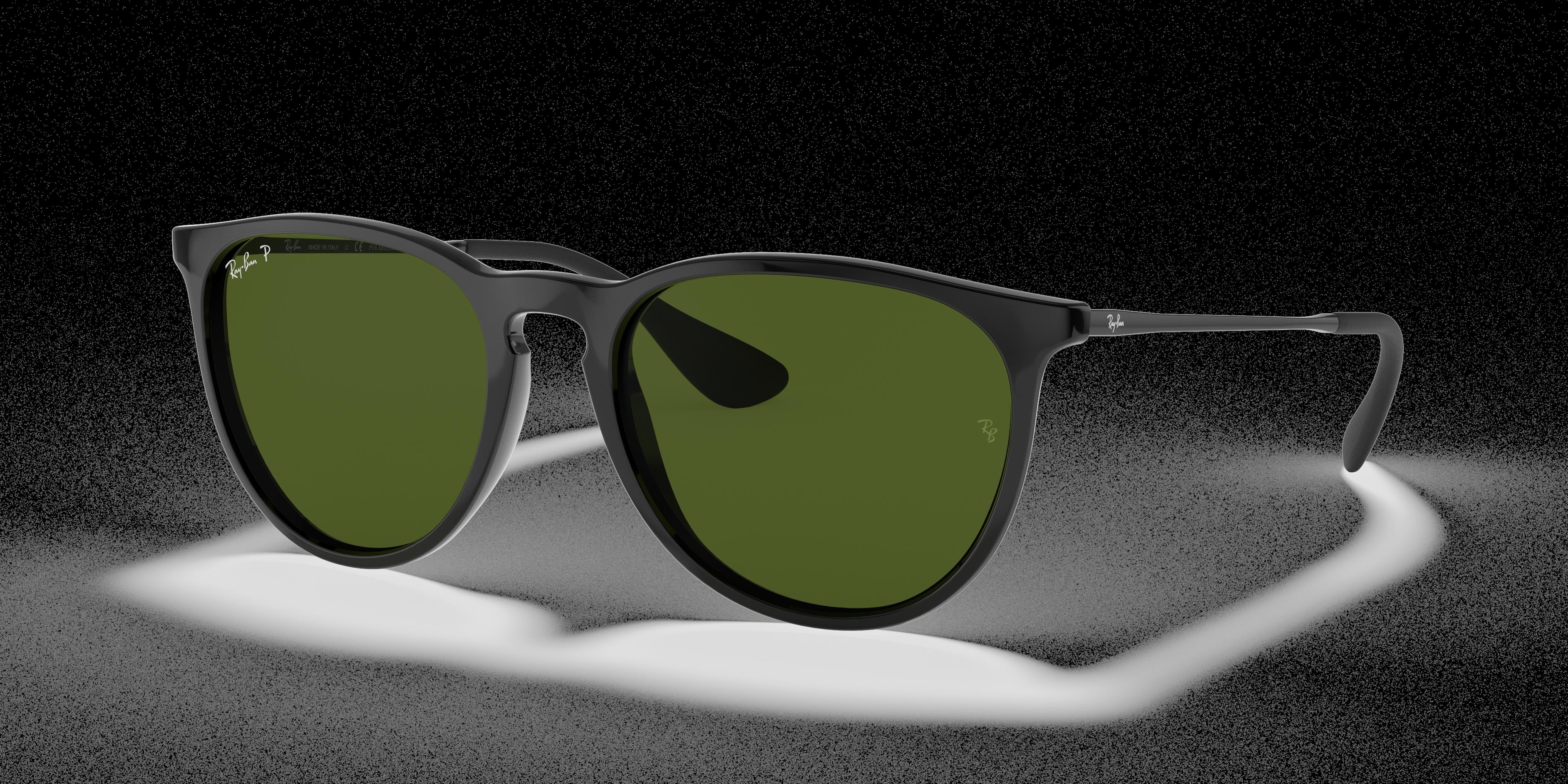 Ray-Ban Erika Classic Black, Polarized Green Lenses - RB4171