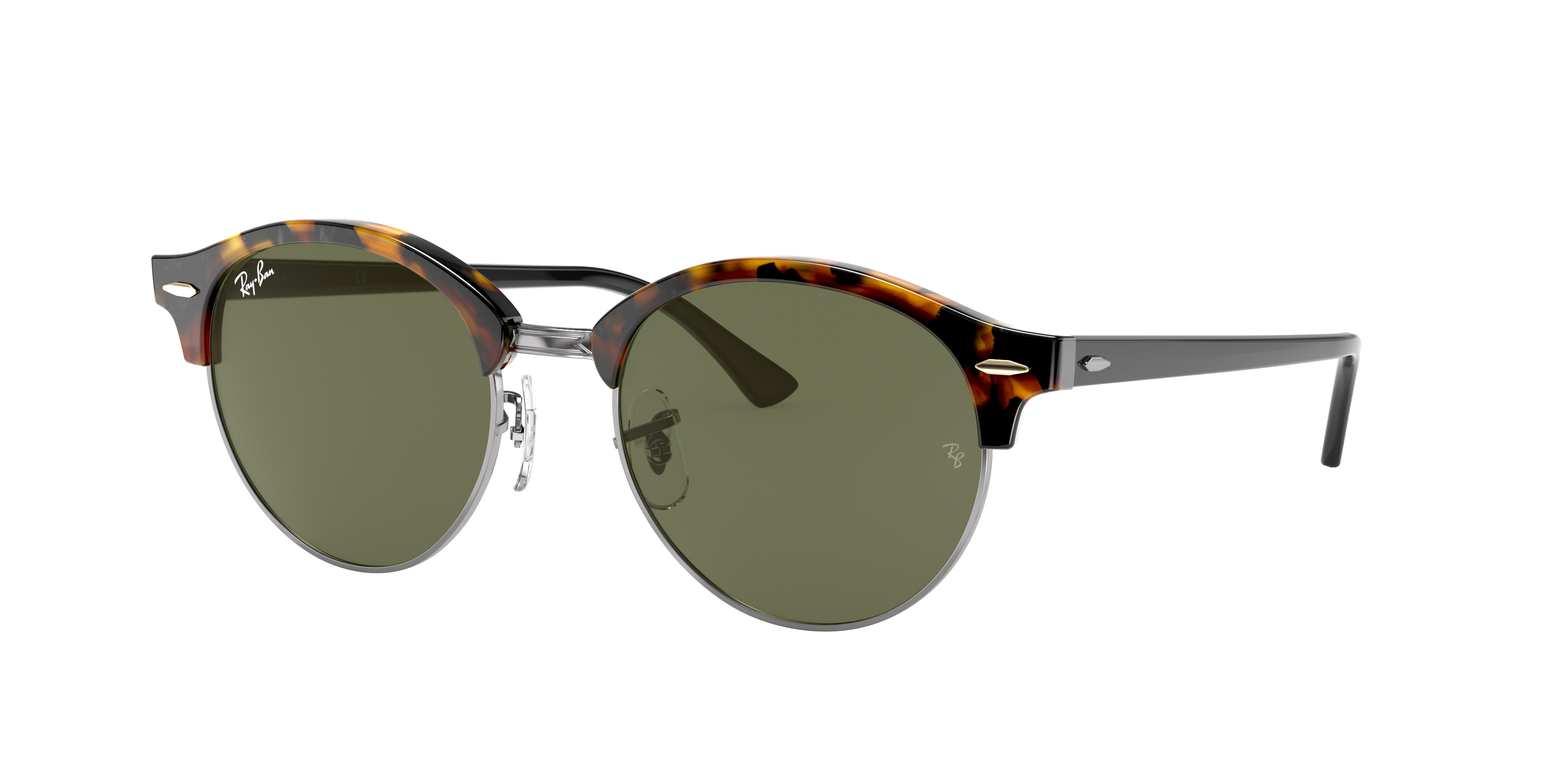 Ray-Ban Clubround Classic Black, Green Lenses - RB4246