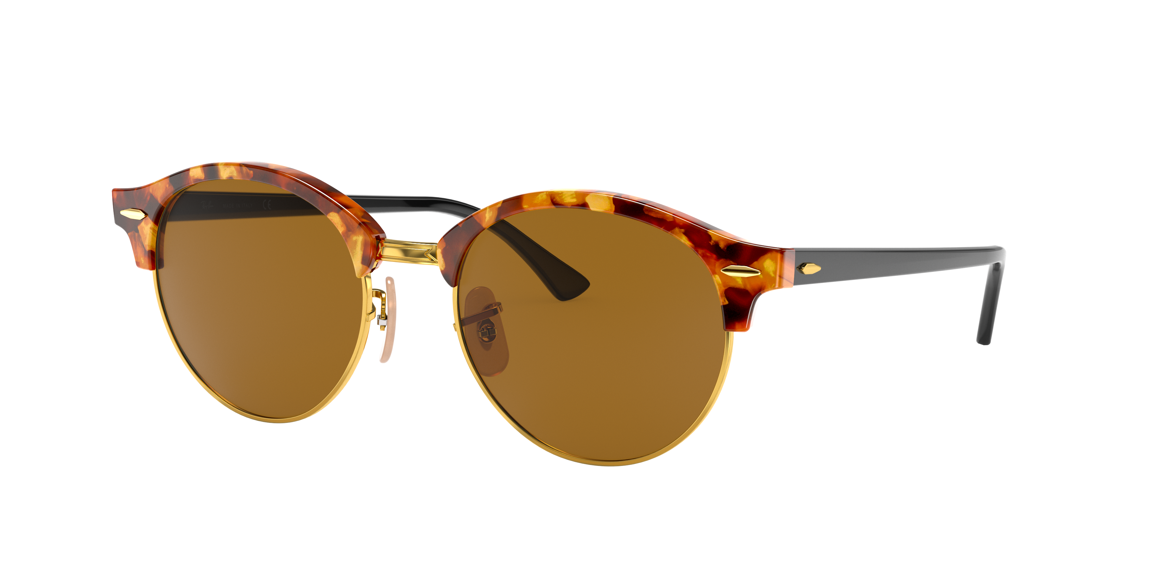Ray-Ban Clubround Classic Black, Brown Lenses - RB4246