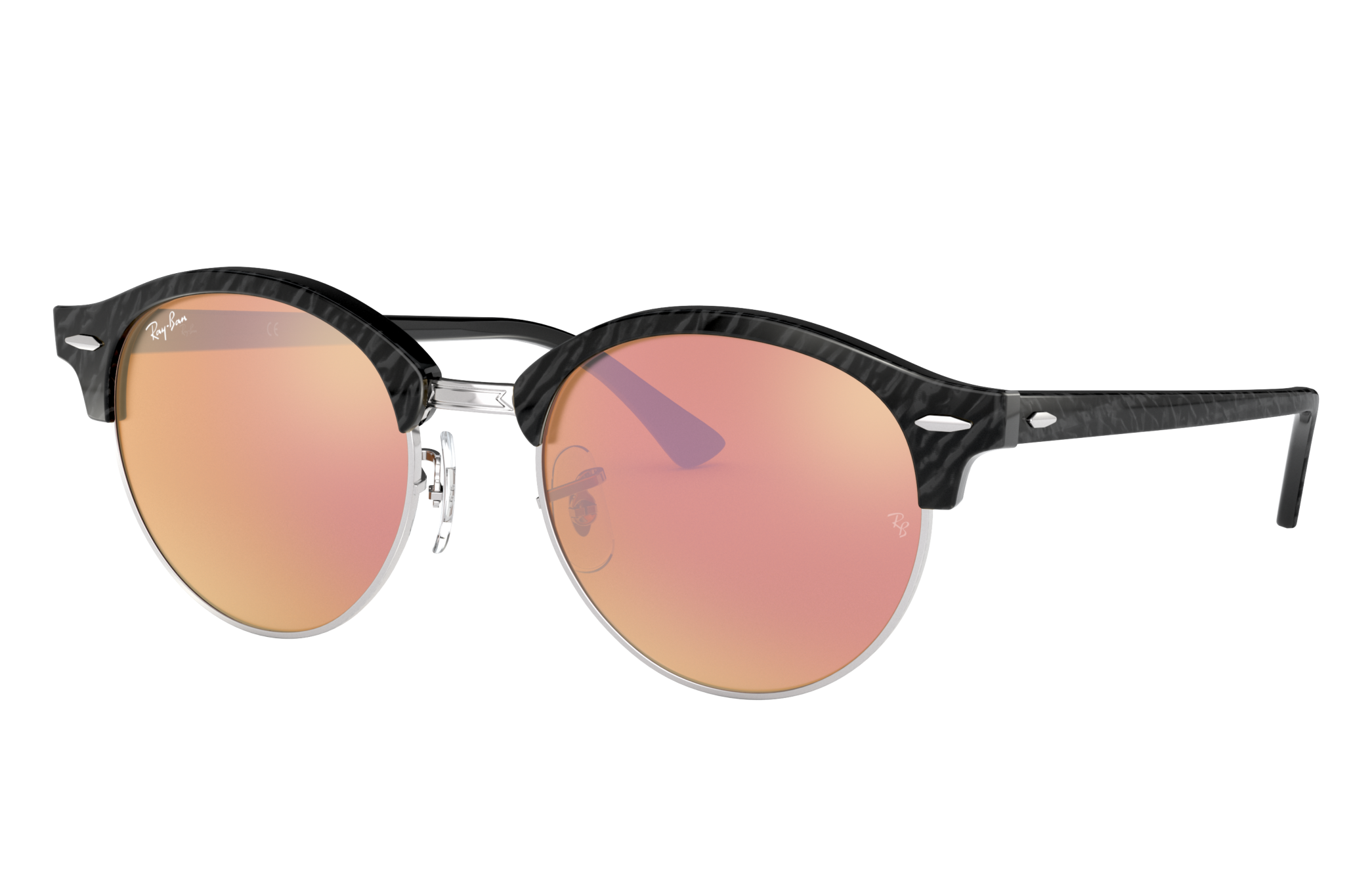 Ray-Ban Clubround Flash Lenses Black, Pink Lenses - RB4246