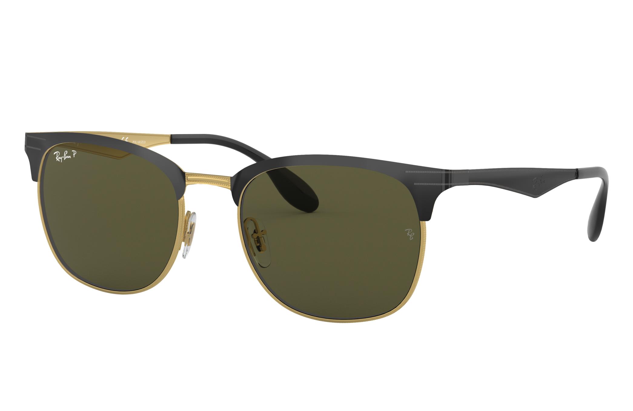Ray-Ban Rb3538 Black, Polarized Green Lenses - RB3538