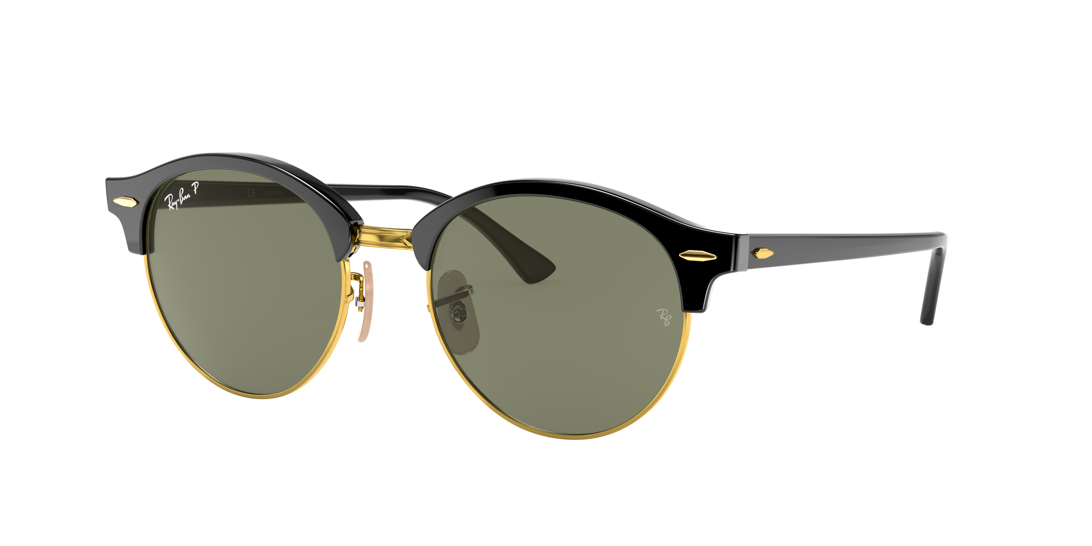 Ray-Ban Clubround Classic Black, Polarized Green Lenses - RB4246
