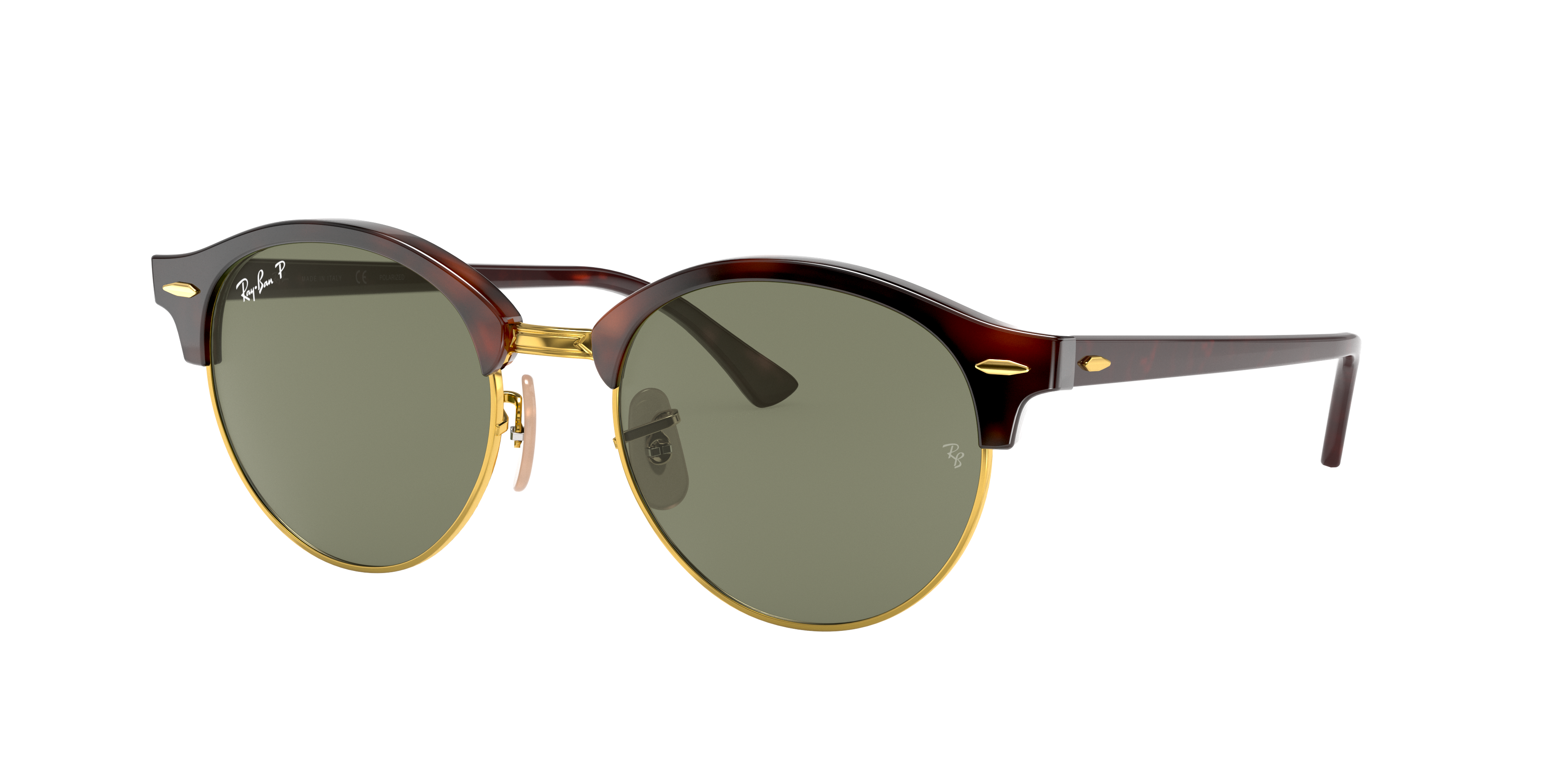 Ray-Ban Clubround Classic Tortoise, Polarized Green Lenses - RB4246