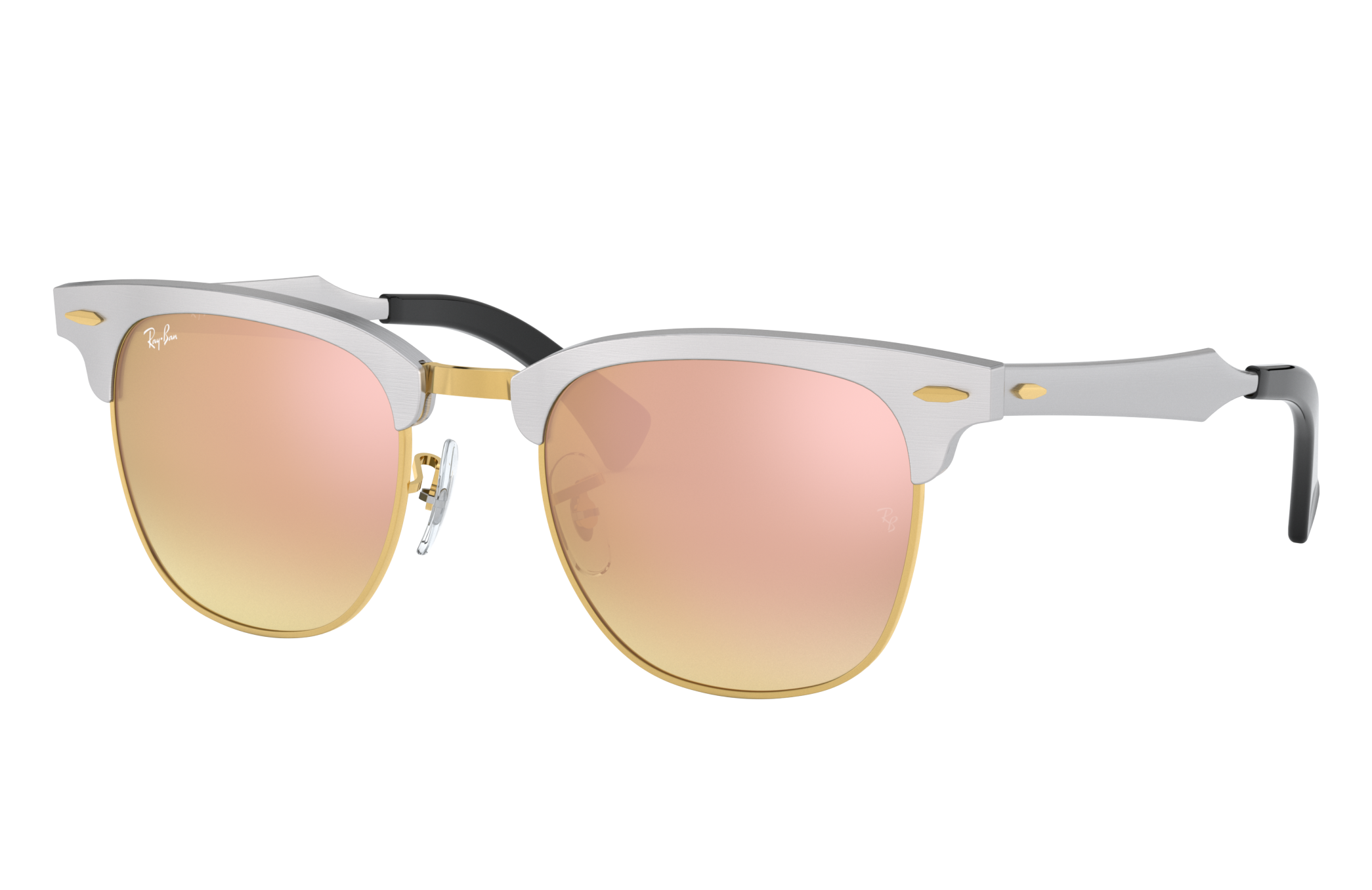Ray-Ban Clubmaster Aluminum Flash Lenses Gradient Silver, Pink Lenses - RB3507