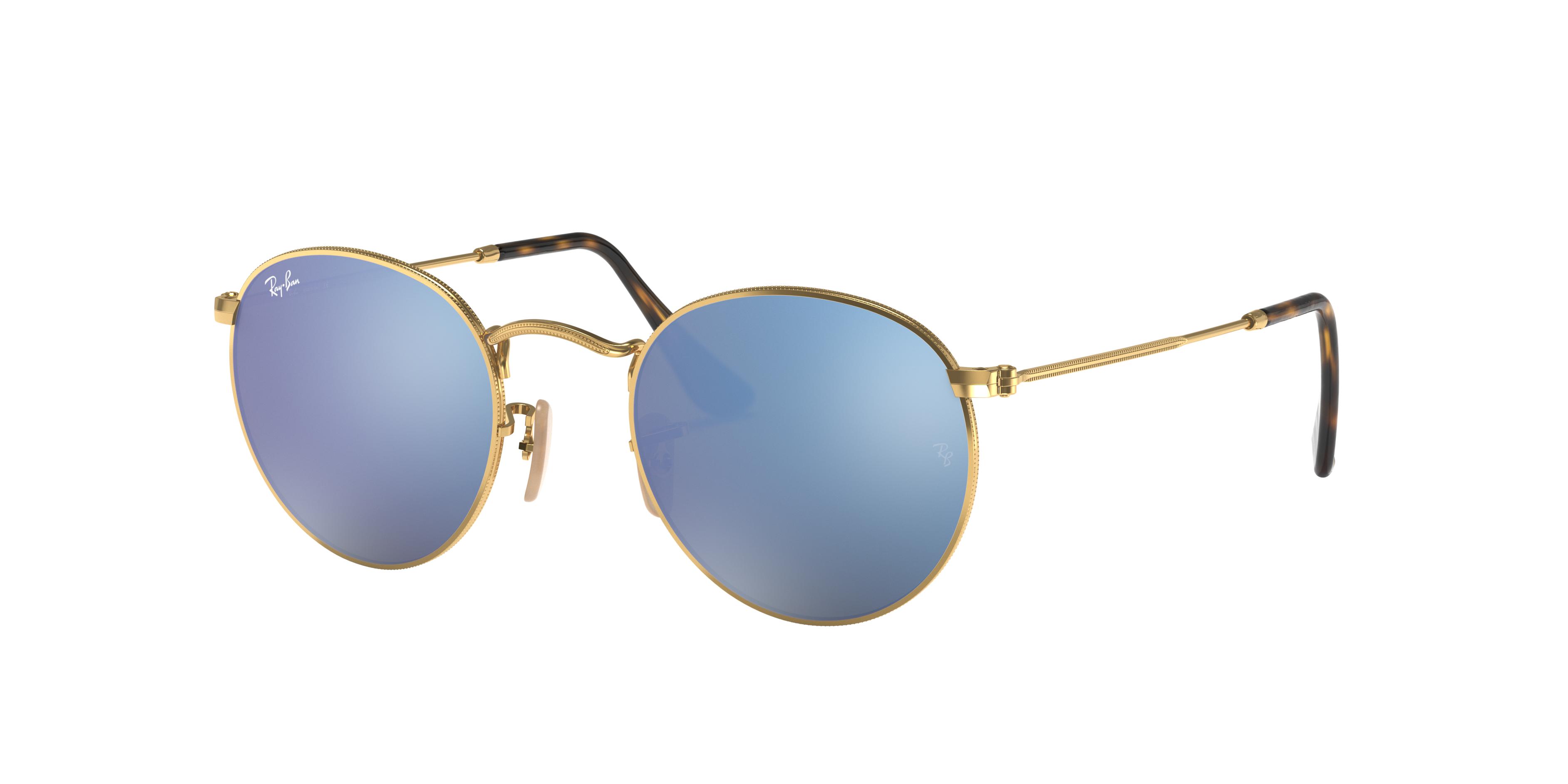 Ray-Ban Round Flat Lenses Gold, Blue Lenses - RB3447N
