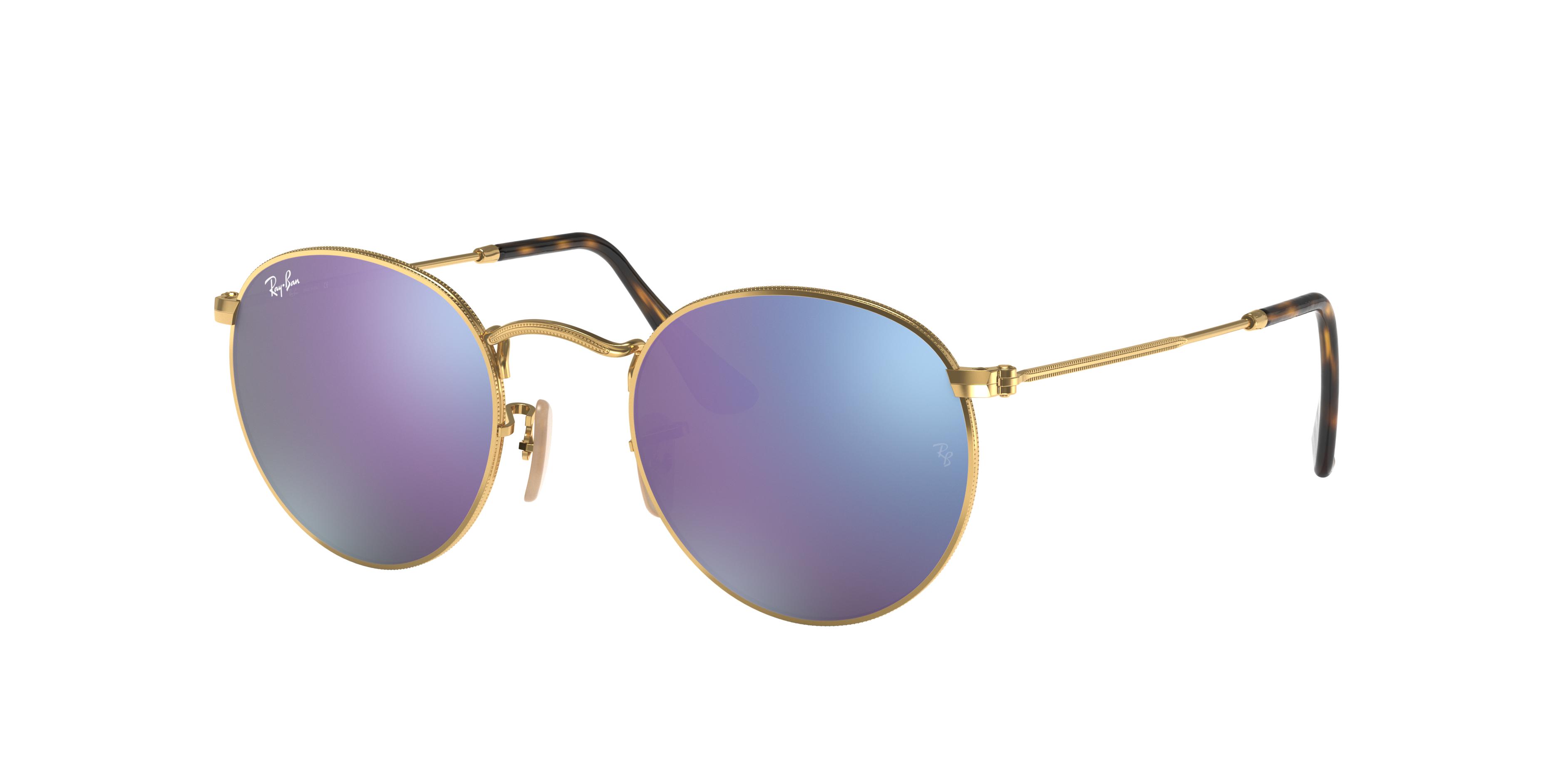 Ray-Ban Round Flat Lenses Gold, Violet Lenses - RB3447N