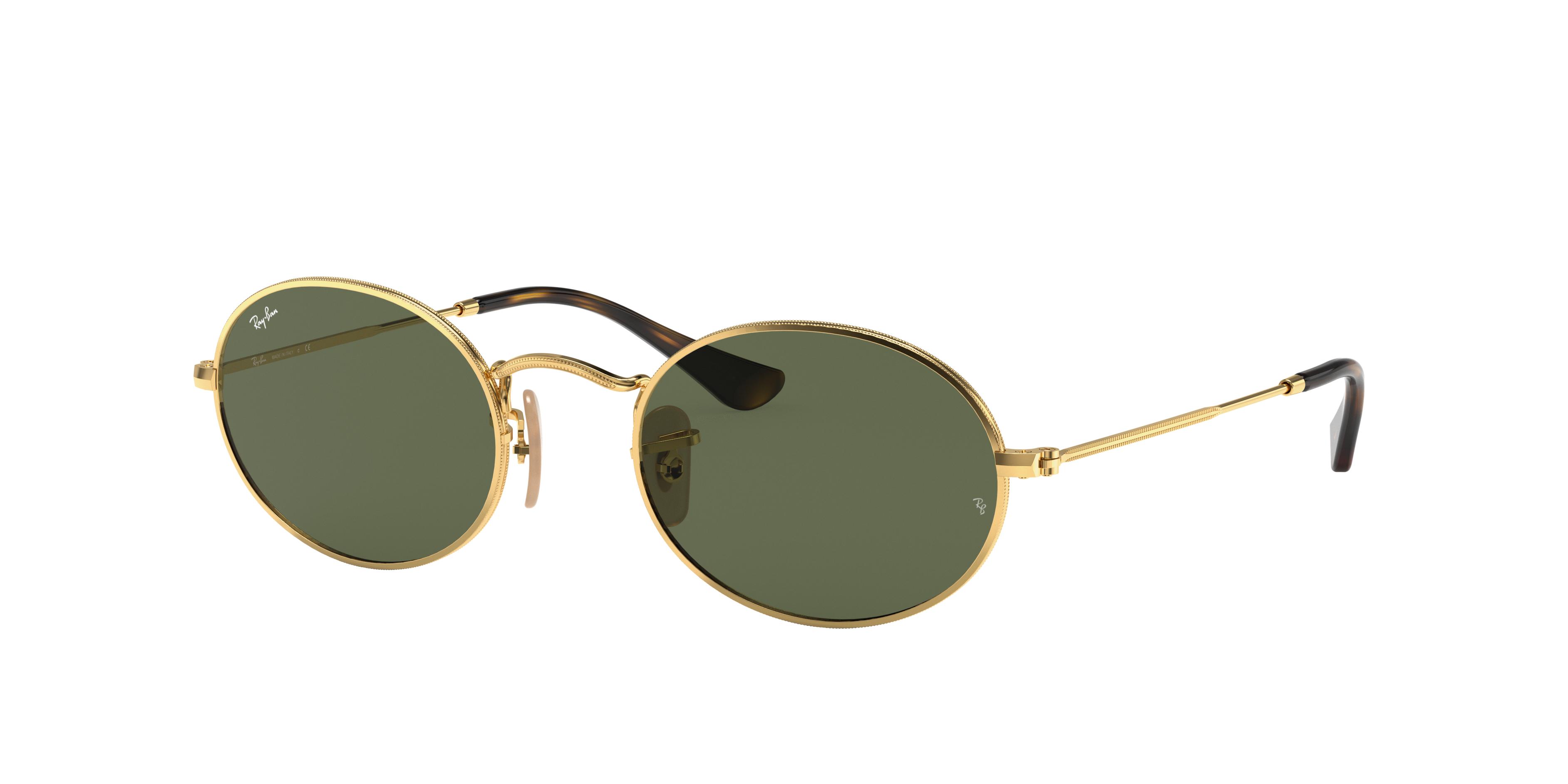 Ray-Ban Oval Flat Lenses Gold, Green Lenses - RB3547N