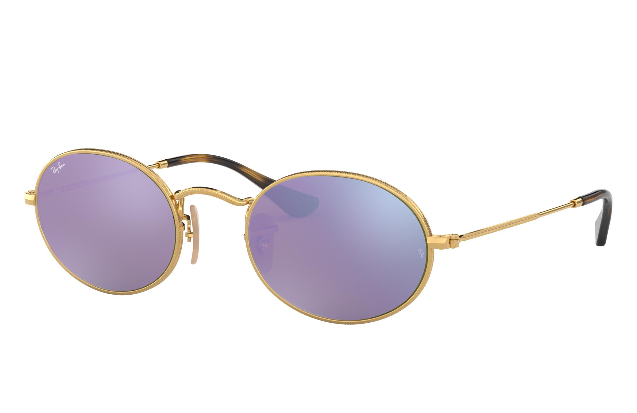 Ray-Ban Oval Flat Lenses Gold, Violet Lenses - RB3547N