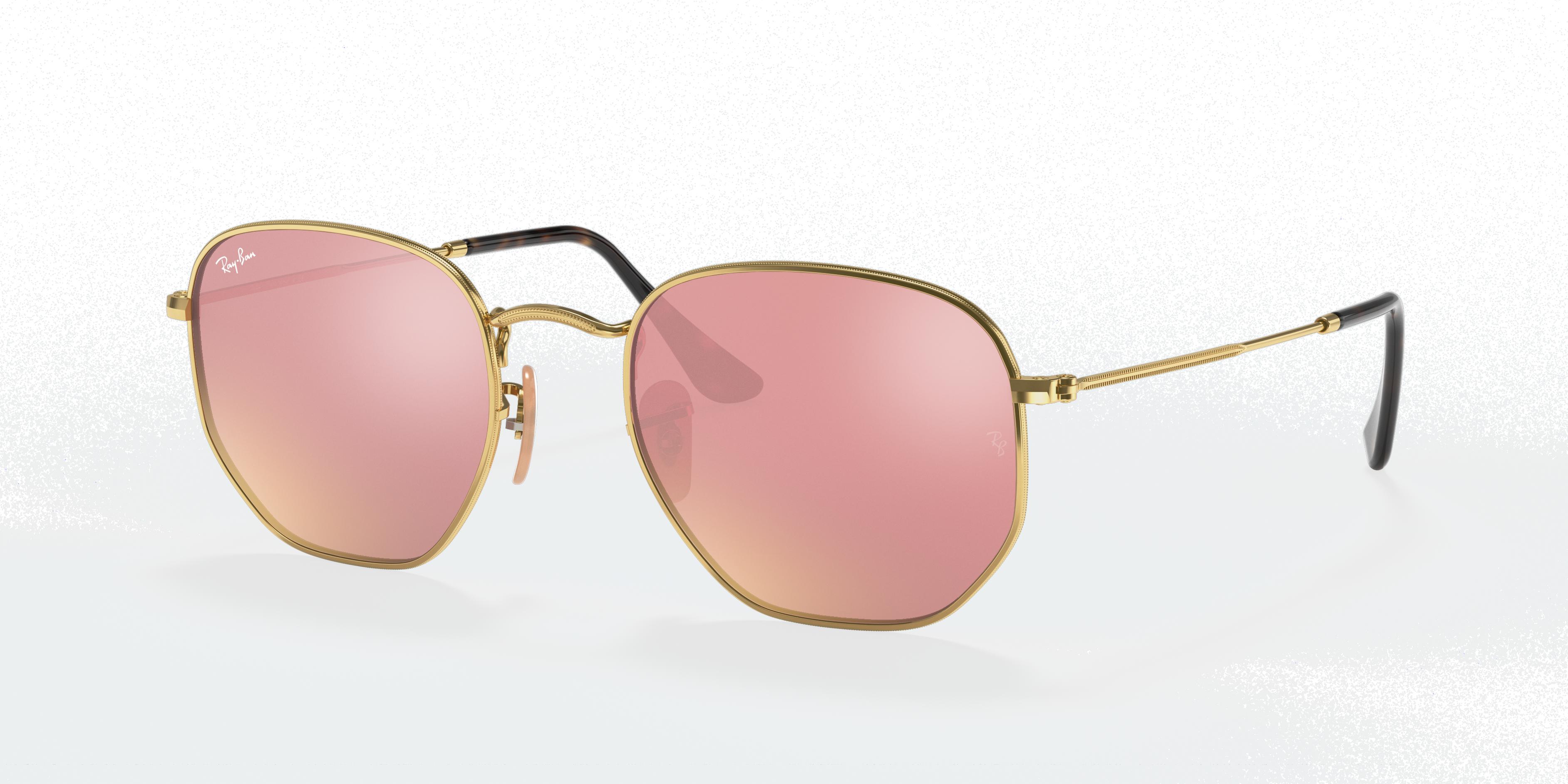 Ray-Ban Hexagonal Flat Lenses Gold, Pink Lenses - RB3548N