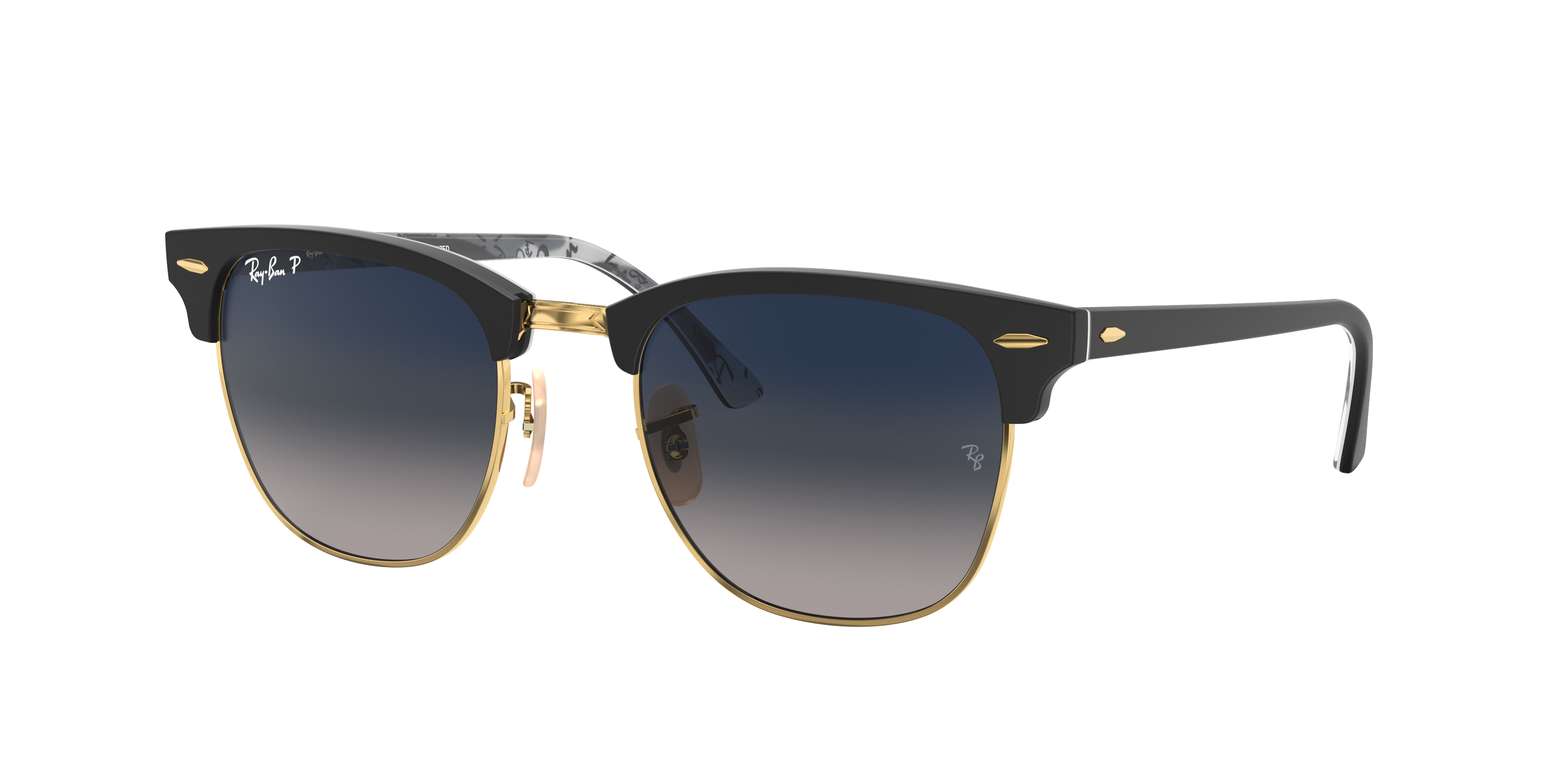 Ray-Ban Clubmaster @collection Black, Polarized Blue Lenses - RB3016