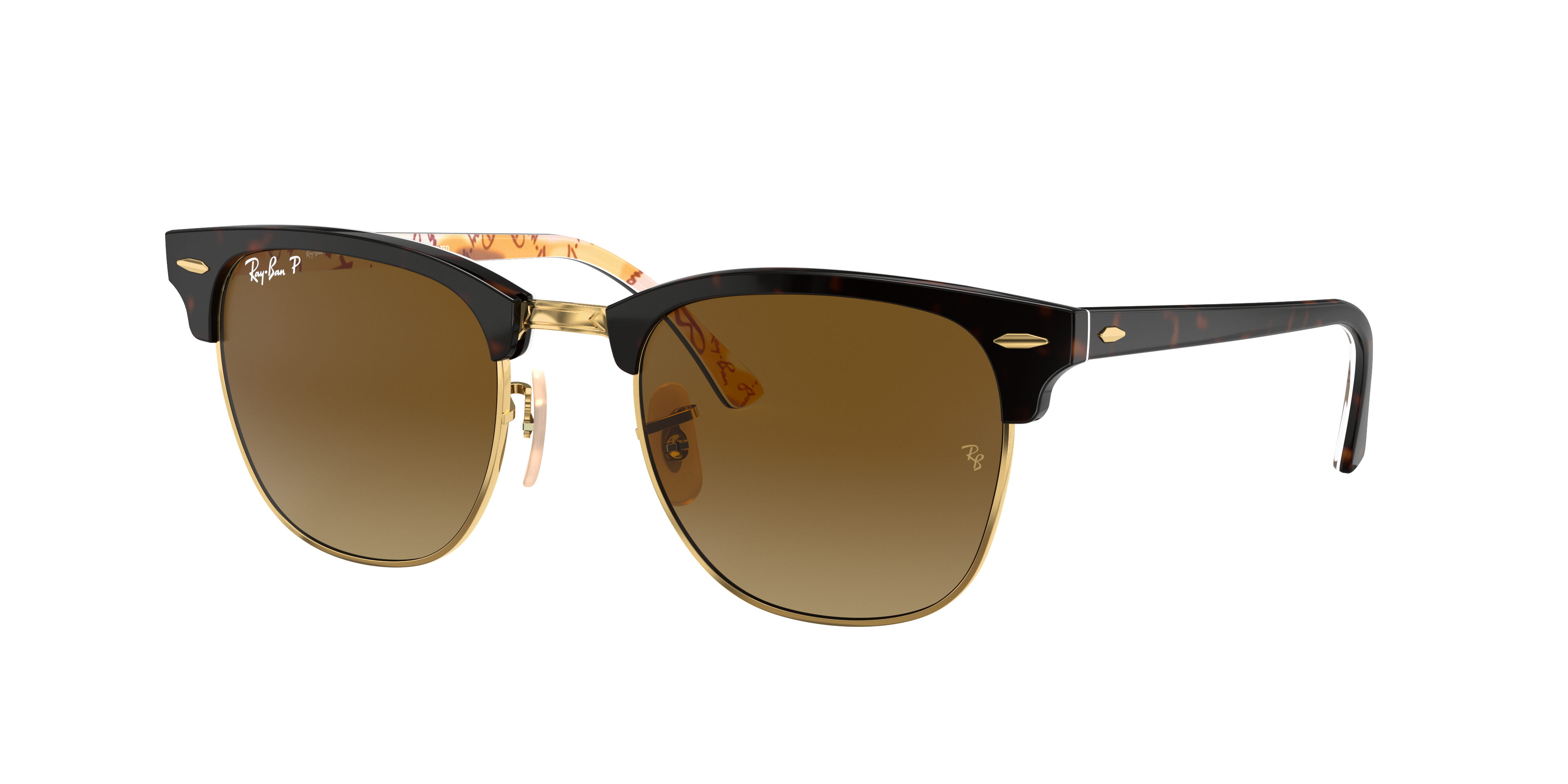 Ray-Ban Clubmaster @collection Tortoise, Polarized Brown Lenses - RB3016