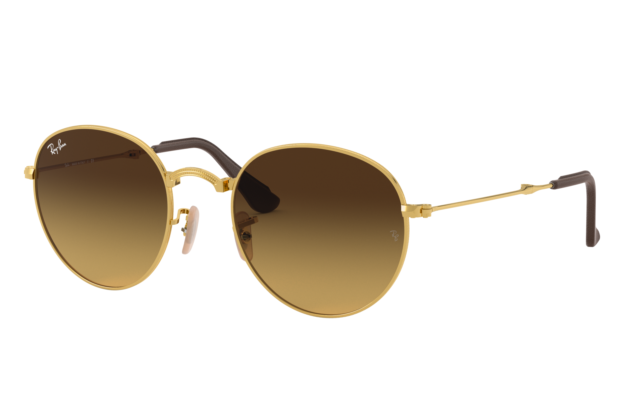 Ray-Ban Round Folding @collection Gold, Brown Lenses - RB3532