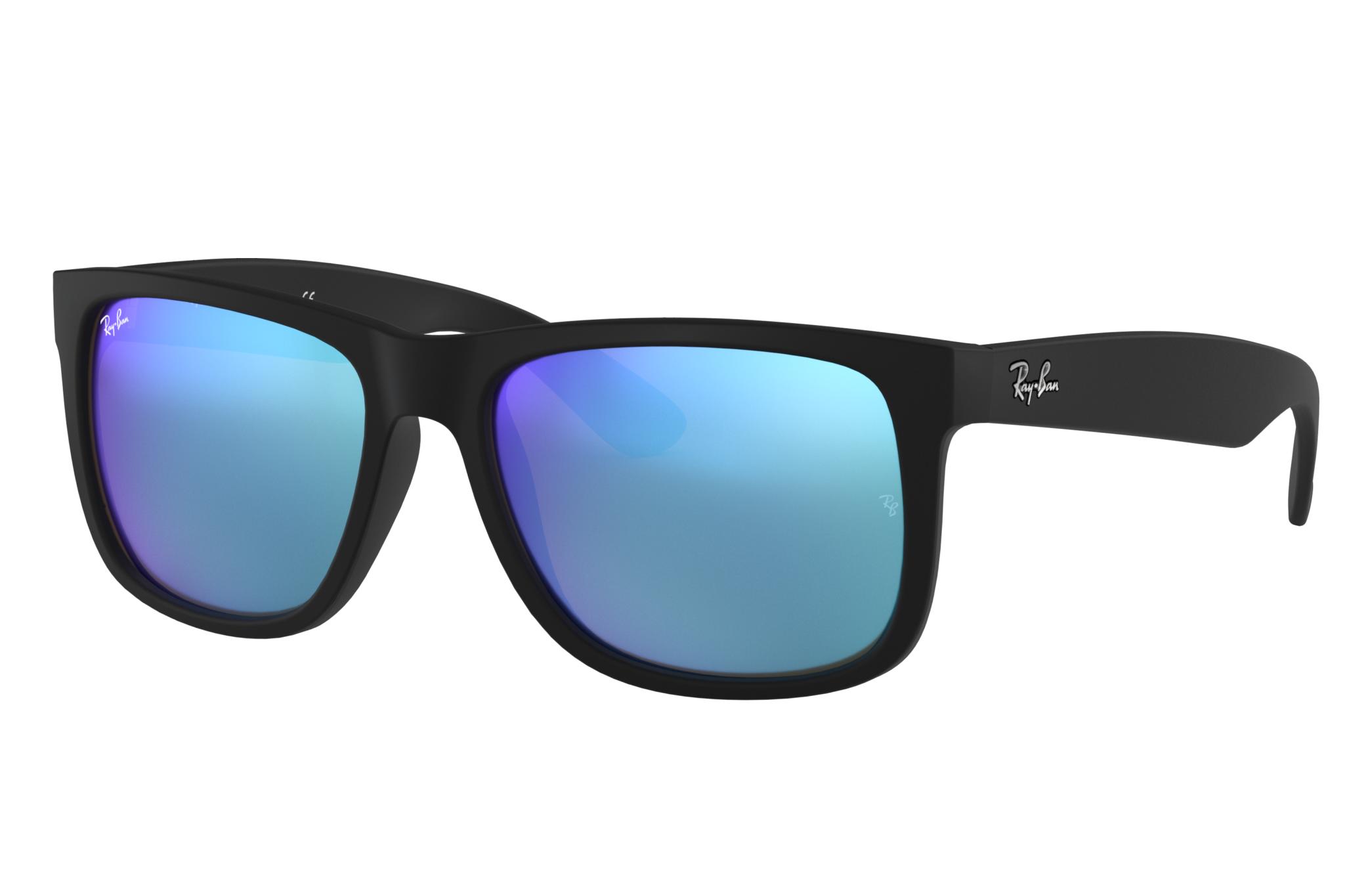 Ray-Ban Justin Color Mix Low Bridge Fit Black, Blue Lenses - RB4165F
