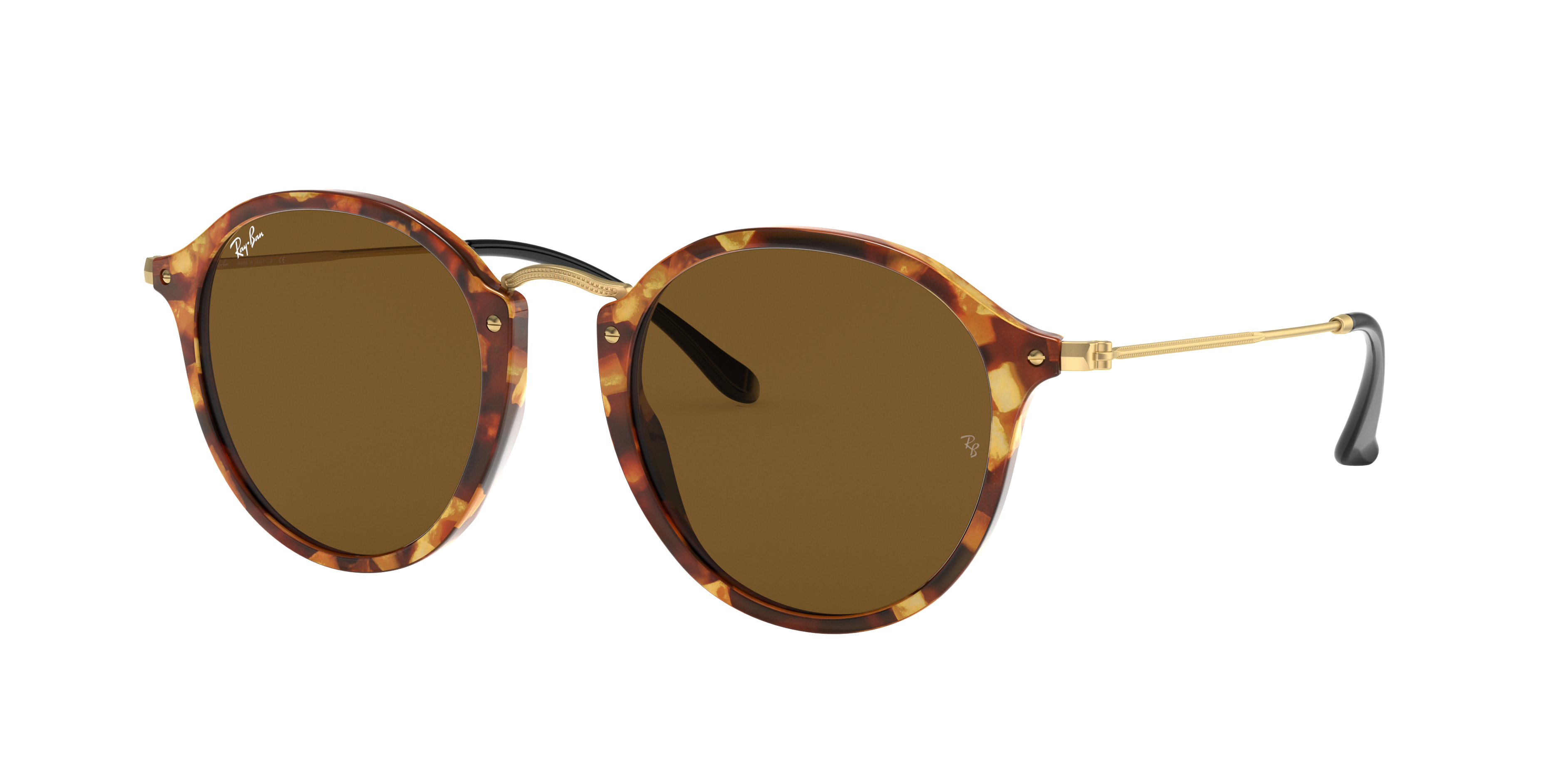Ray-Ban Round Fleck Gold, Brown Lenses - RB2447