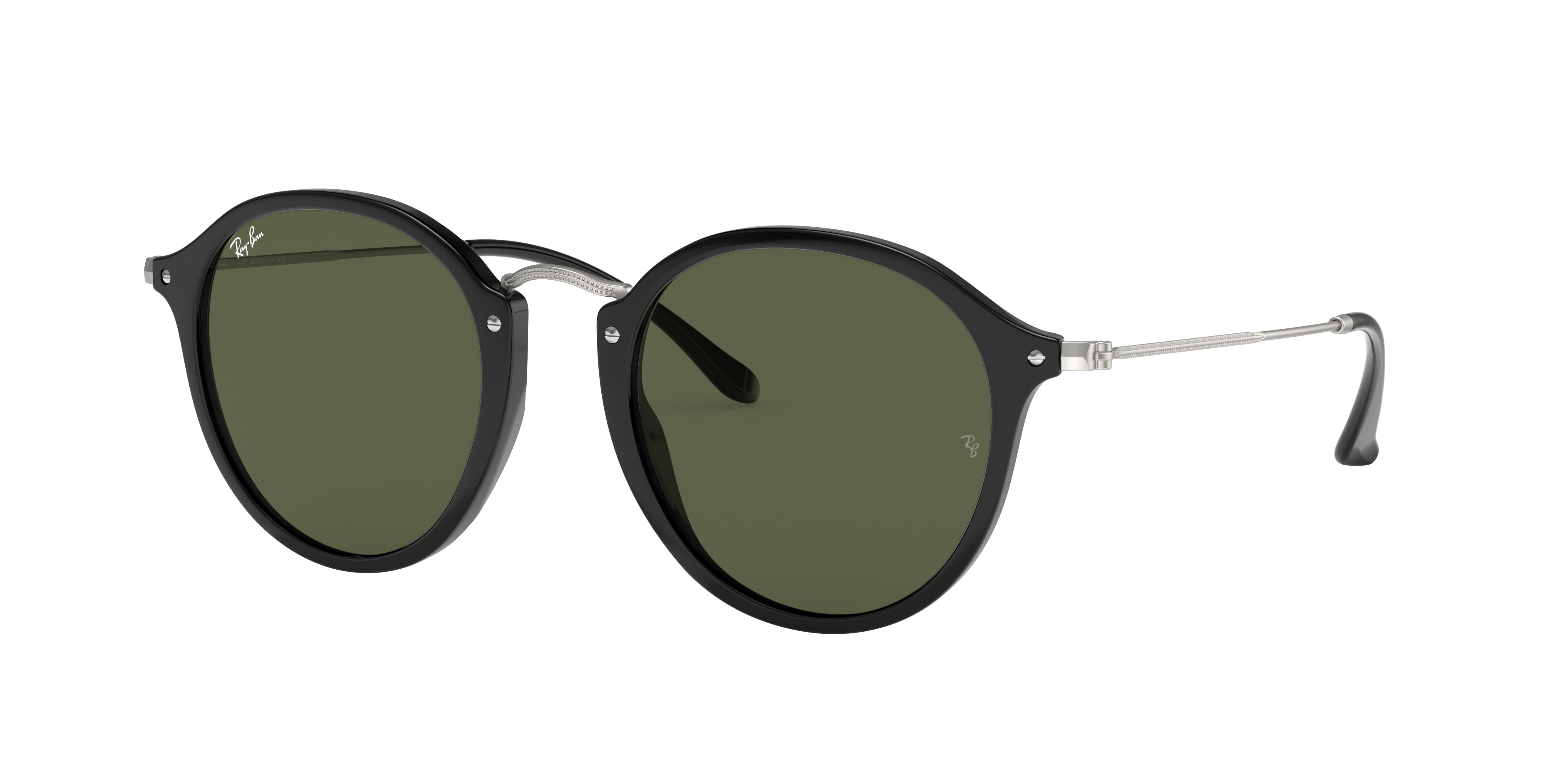 Ray-Ban Round Fleck Silver, Green Lenses - RB2447