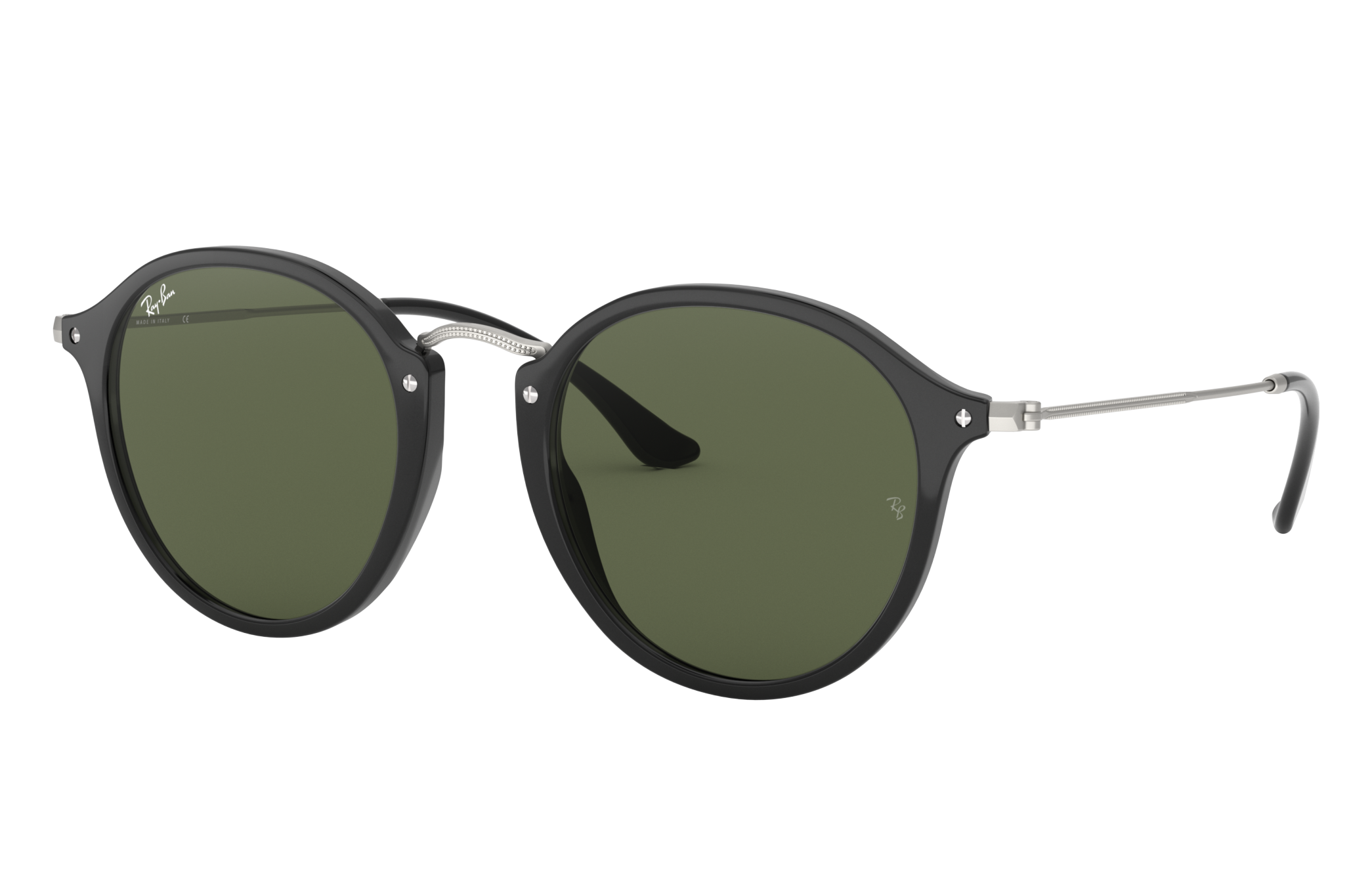 Ray-Ban Round Fleck Low Bridge Fit Silver, Green Lenses - RB2447F