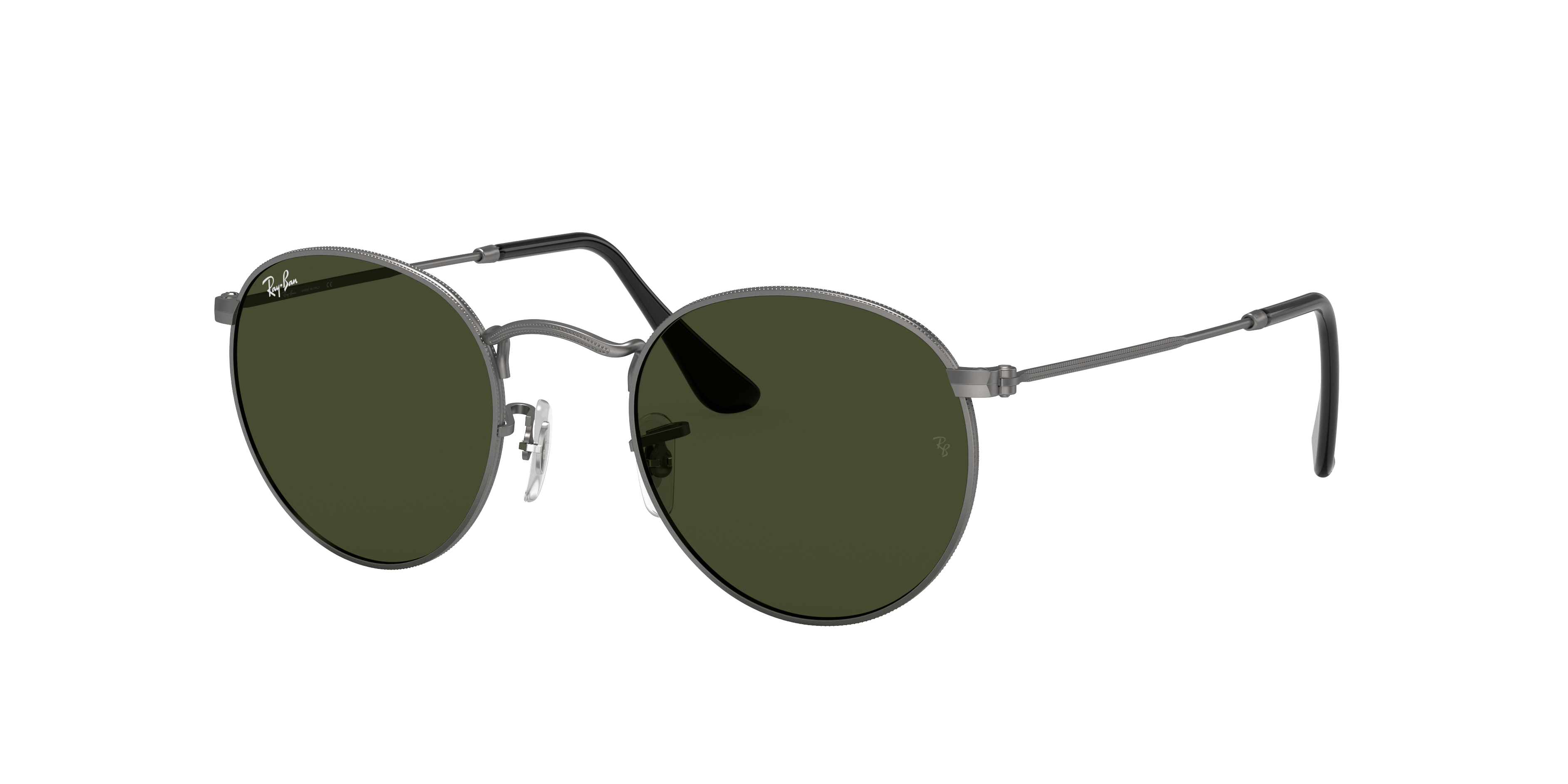 Ray-Ban Round Metal Gunmetal, Green Lenses - RB3447