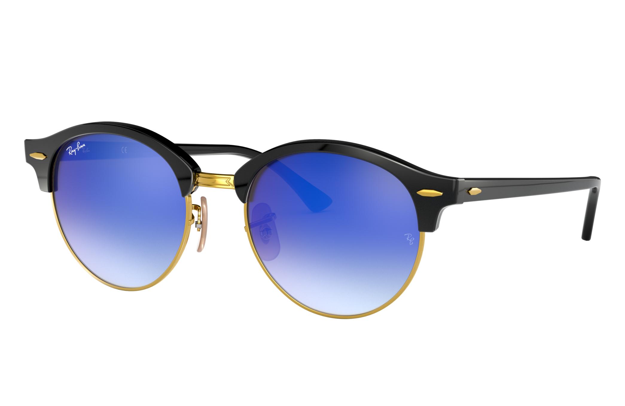 Ray-Ban Clubround Flash Lenses Black, Blue Lenses - RB4246