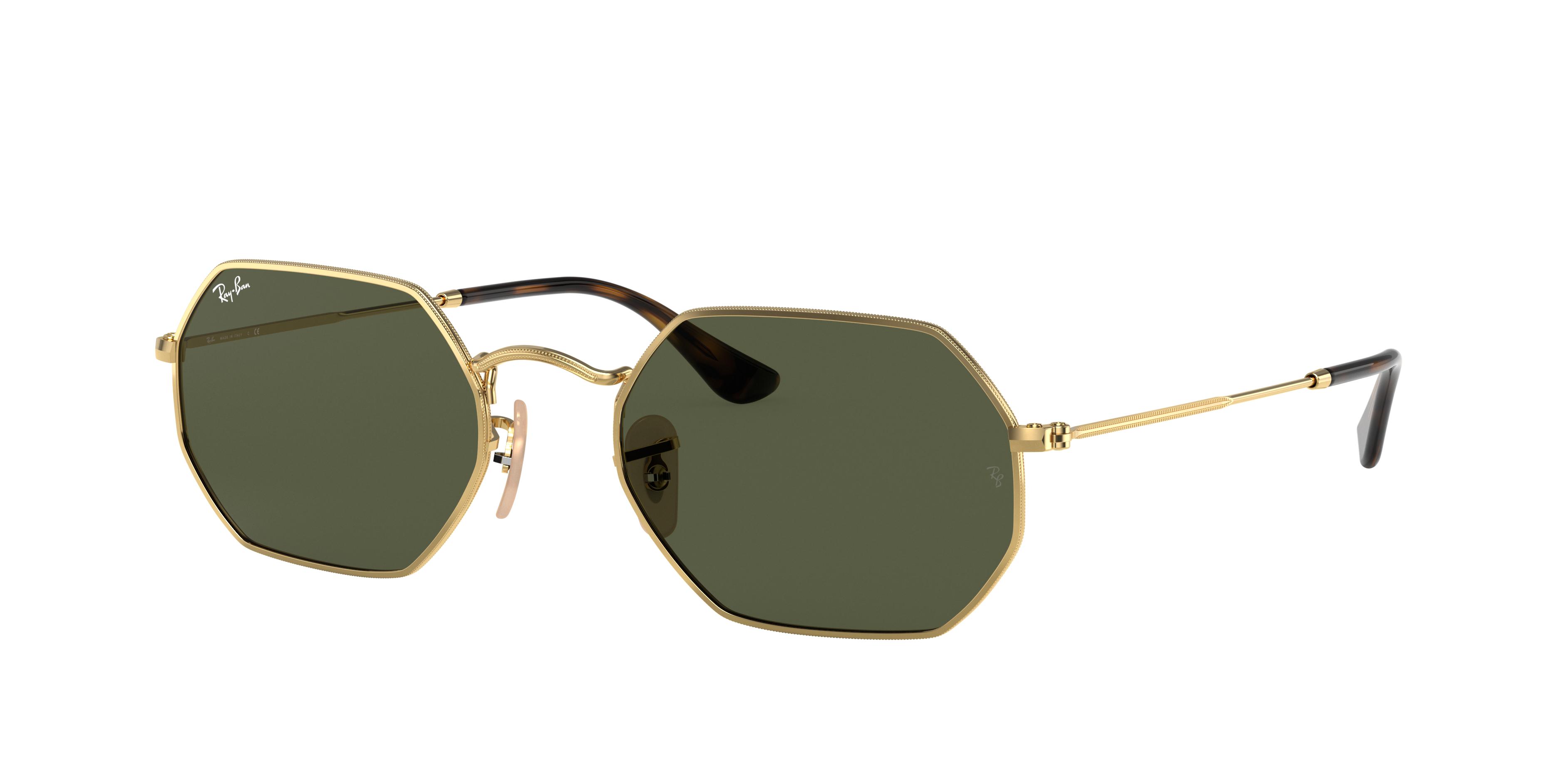 Ray-Ban Octagonal Classic Gold, Green Lenses - RB3556N