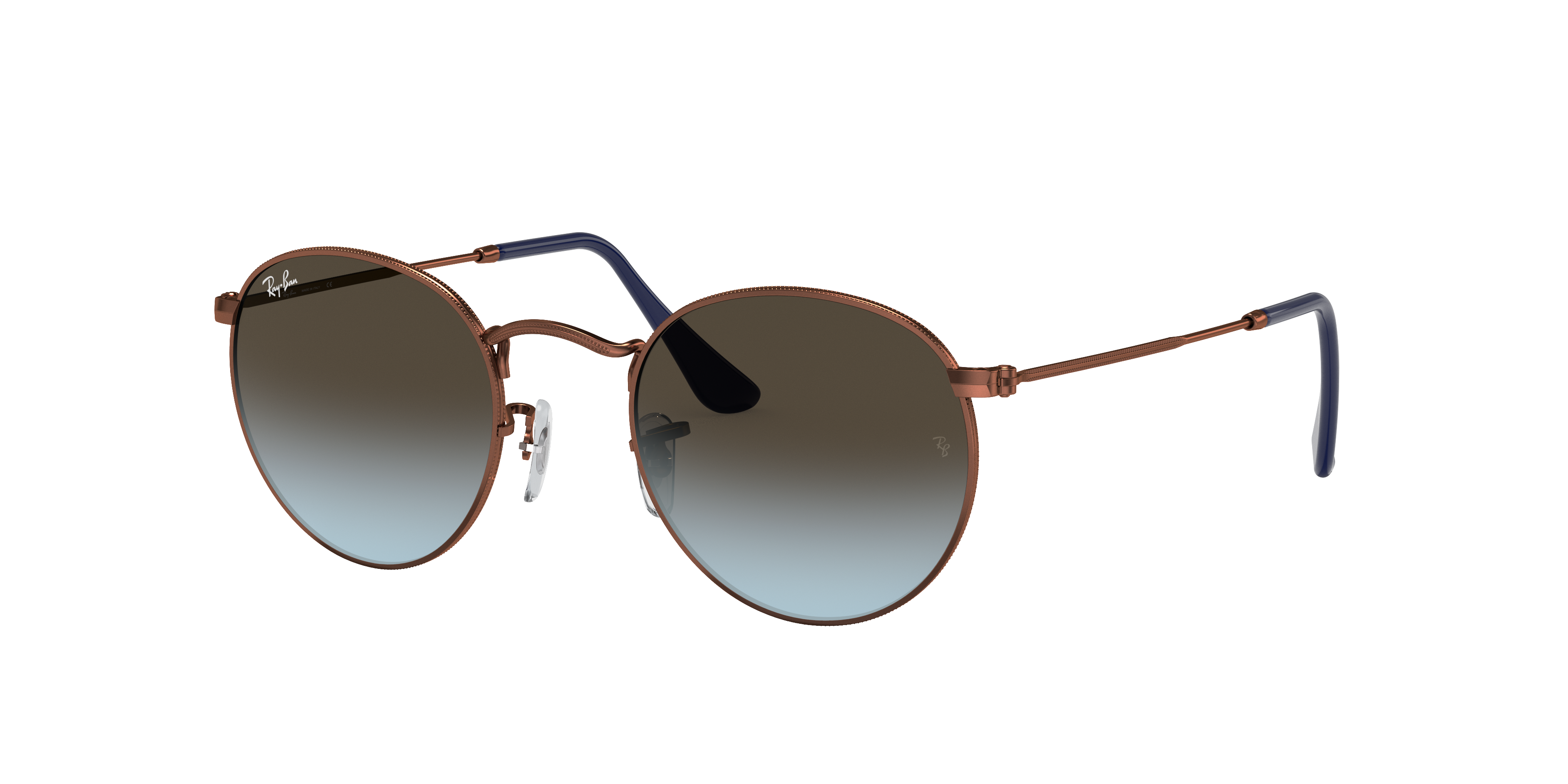 Ray-Ban Round Metal Bronze-Copper, Blue Lenses - RB3447