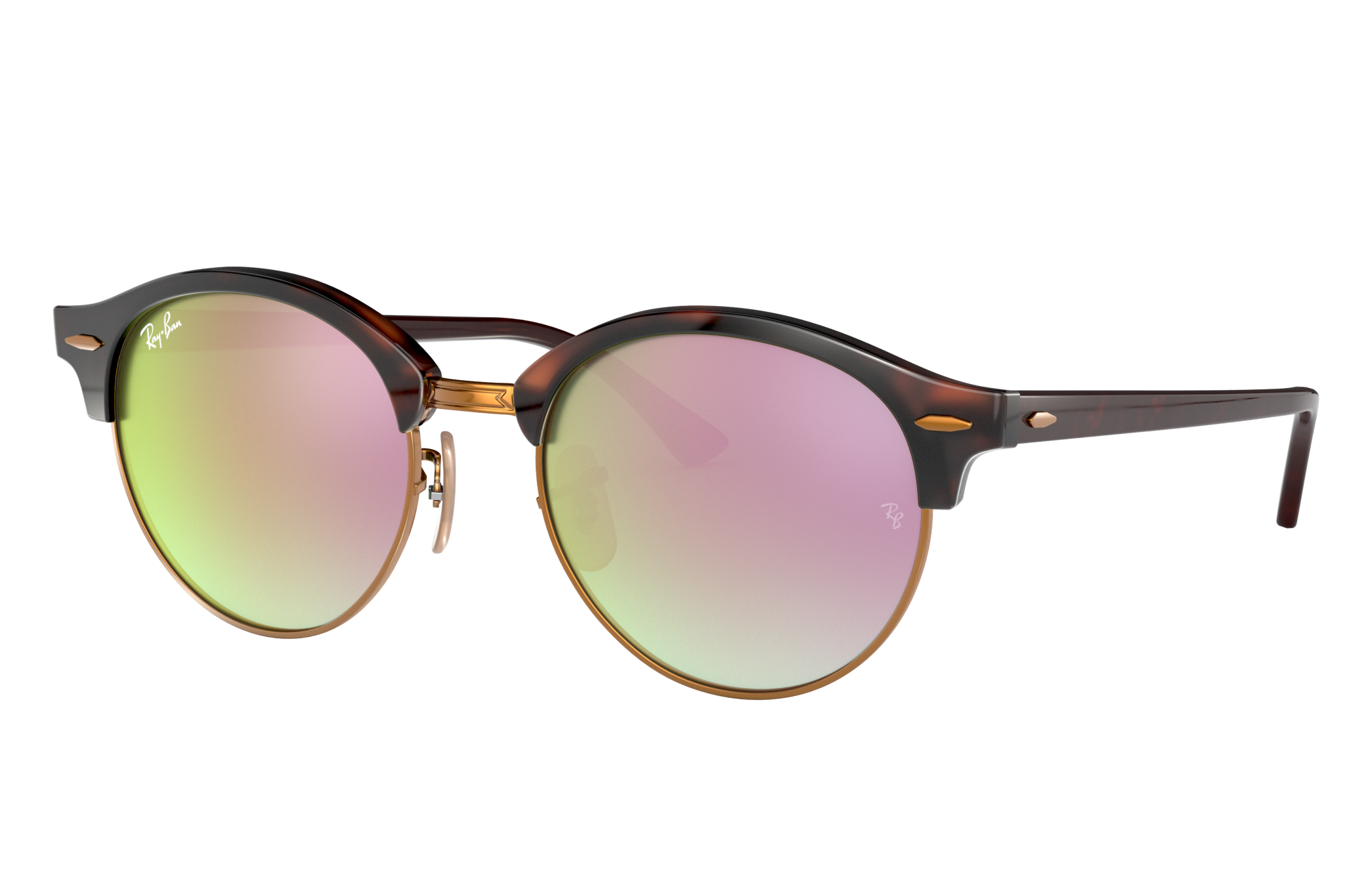 Ray-Ban Clubround @collection Tortoise, Pink Lenses - RB4246