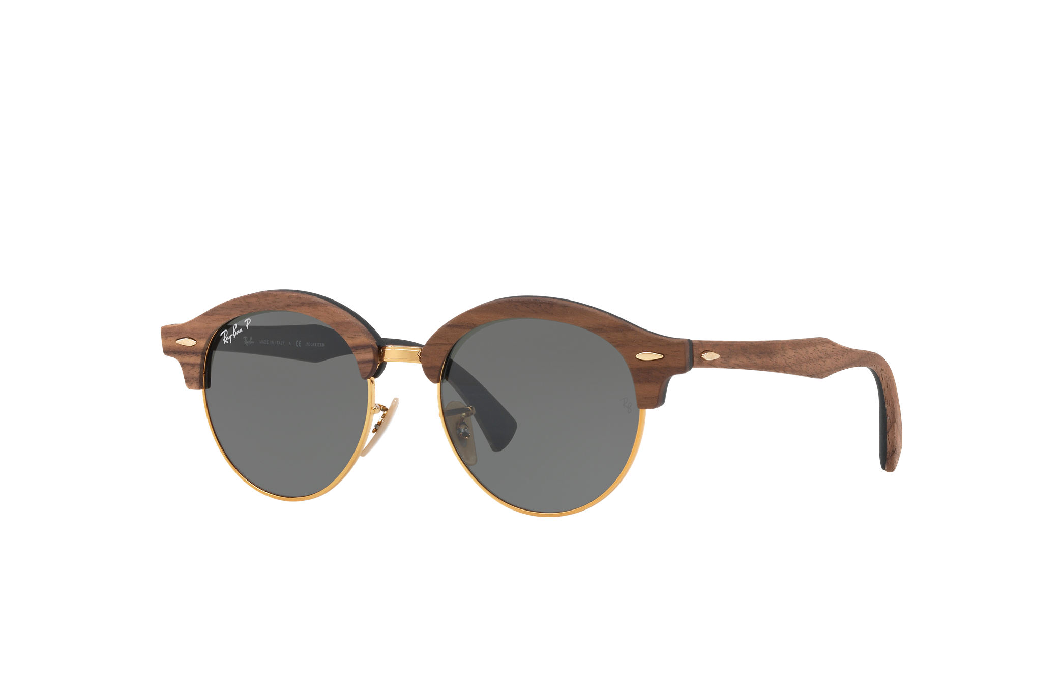 Ray-Ban Clubround Wood Brown, Polarized Green Lenses - RB4246M
