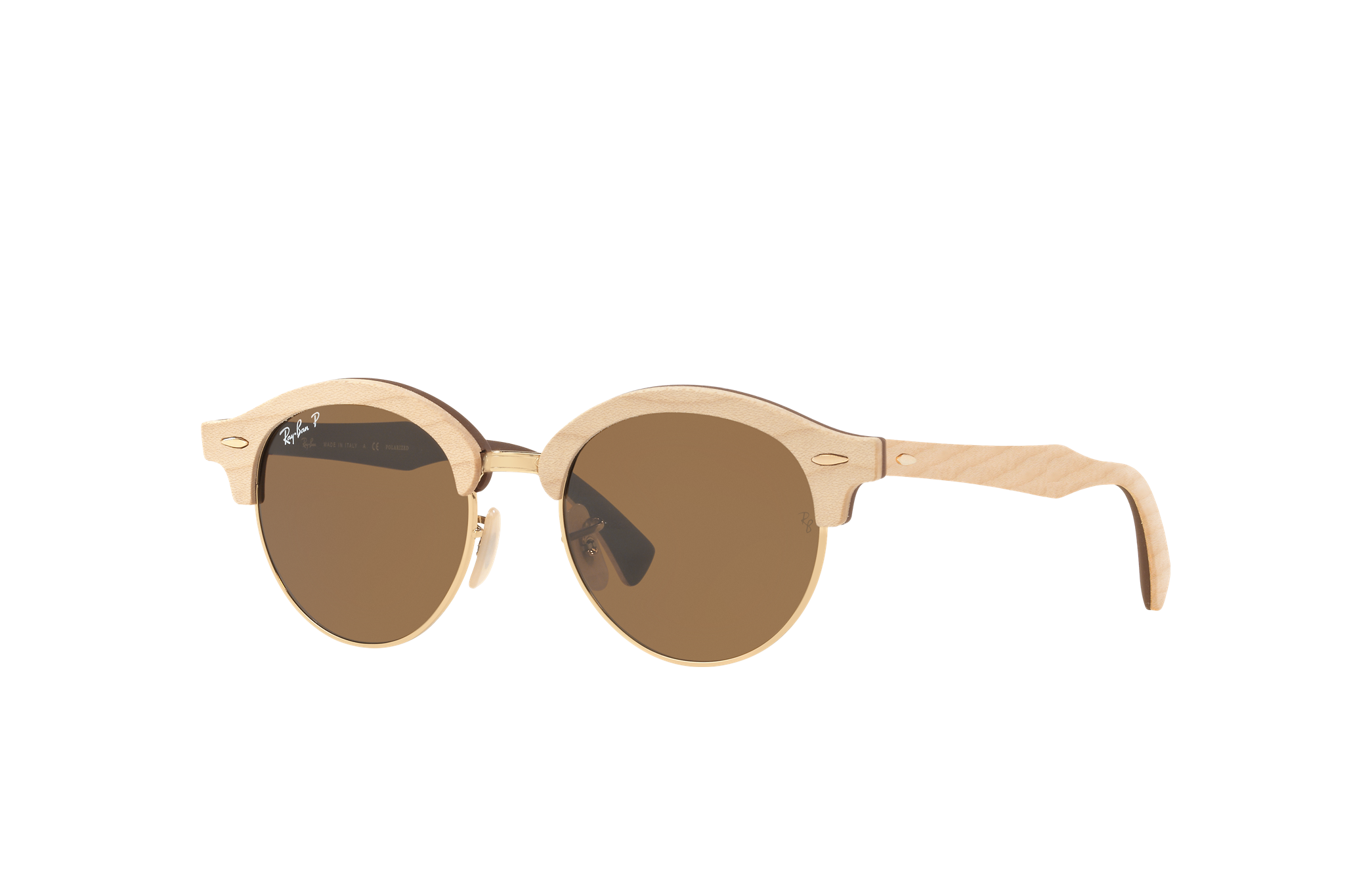 Ray-Ban Clubround Wood Brown, Polarized Brown Lenses - RB4246M