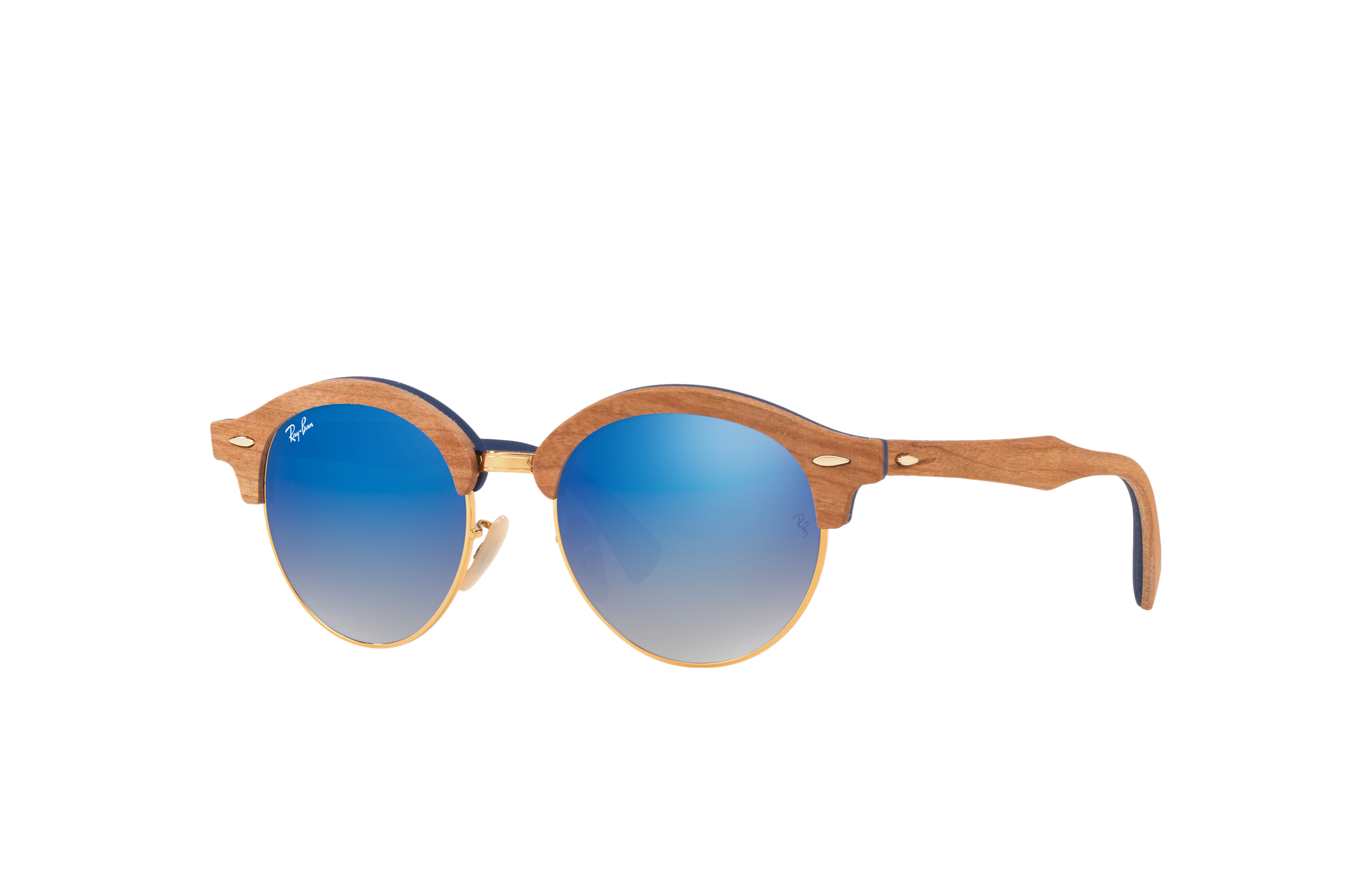 Ray-Ban Clubround Wood Brown, Blue Lenses - RB4246M